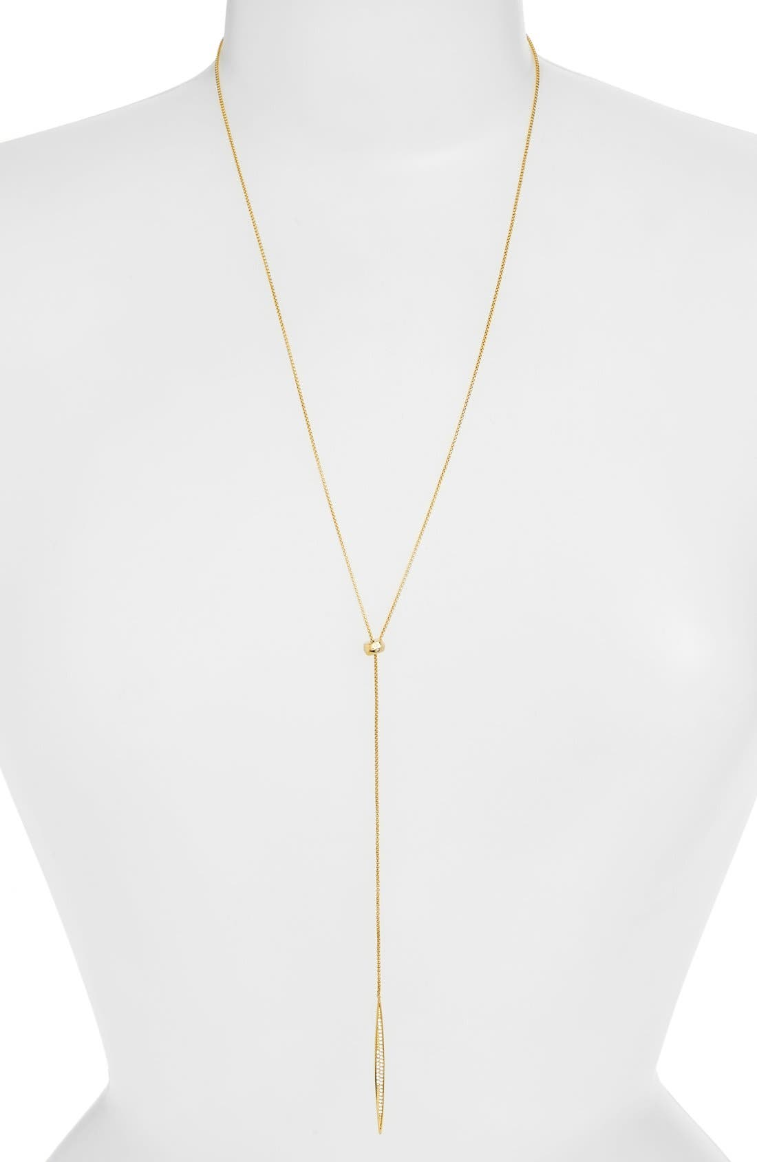 'Tattoo' Encrusted Lariat Necklace,                             Main thumbnail 1, color,                             GOLD