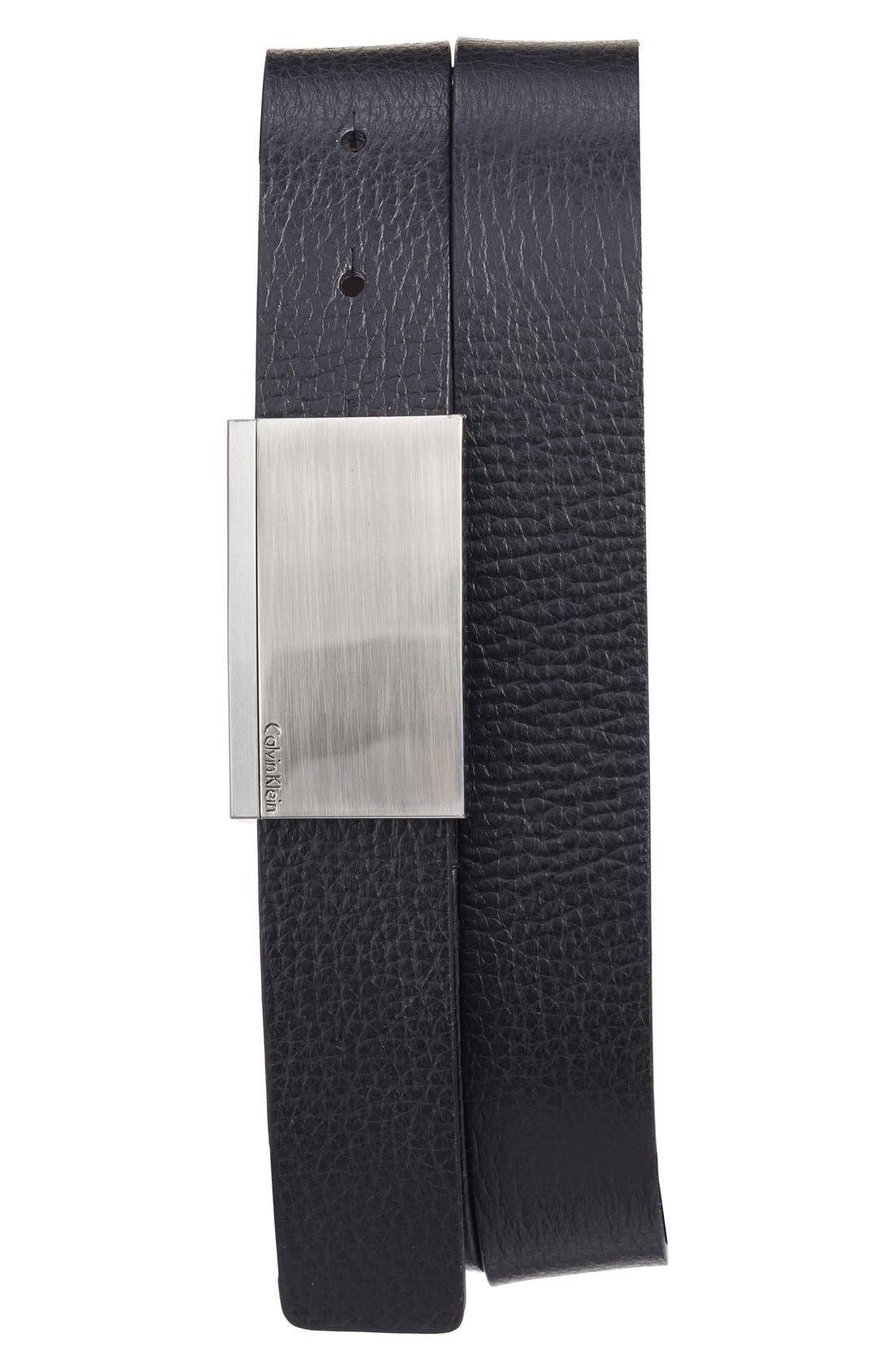 Leather Belt,                             Alternate thumbnail 3, color,                             001