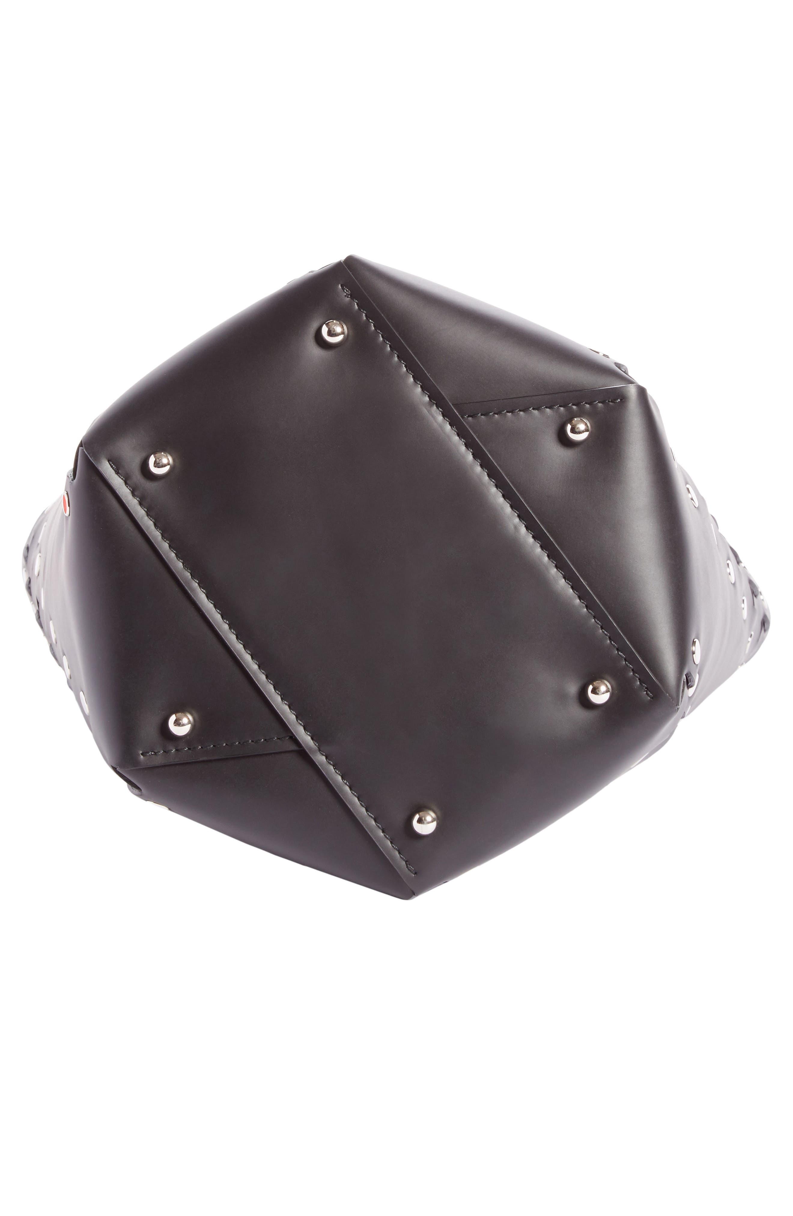 Medium Hex Studded Leather Bucket Bag,                             Alternate thumbnail 5, color,                             001