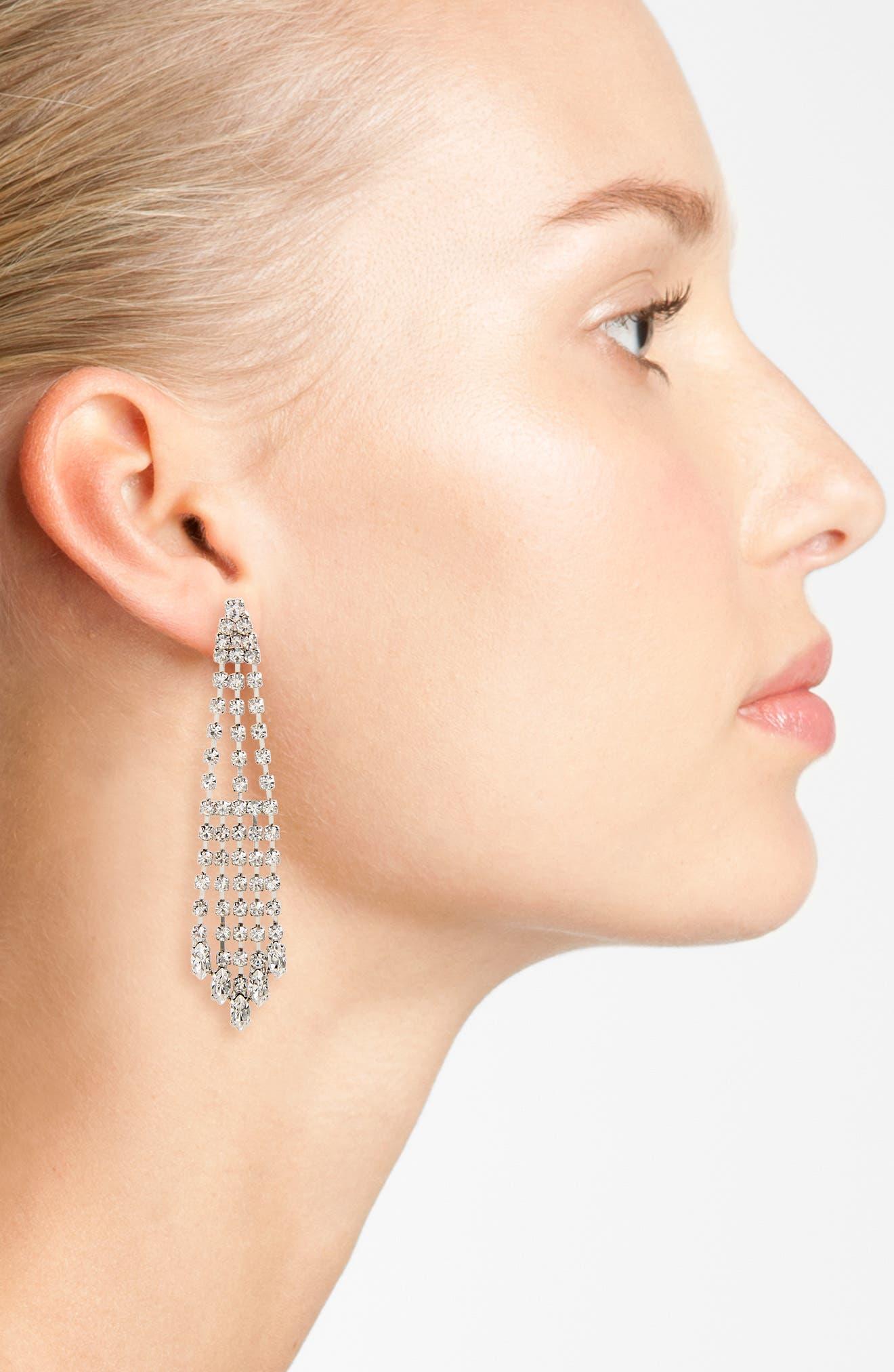 NINA,                             Cascade Chandelier Earrings,                             Alternate thumbnail 2, color,                             SILVER