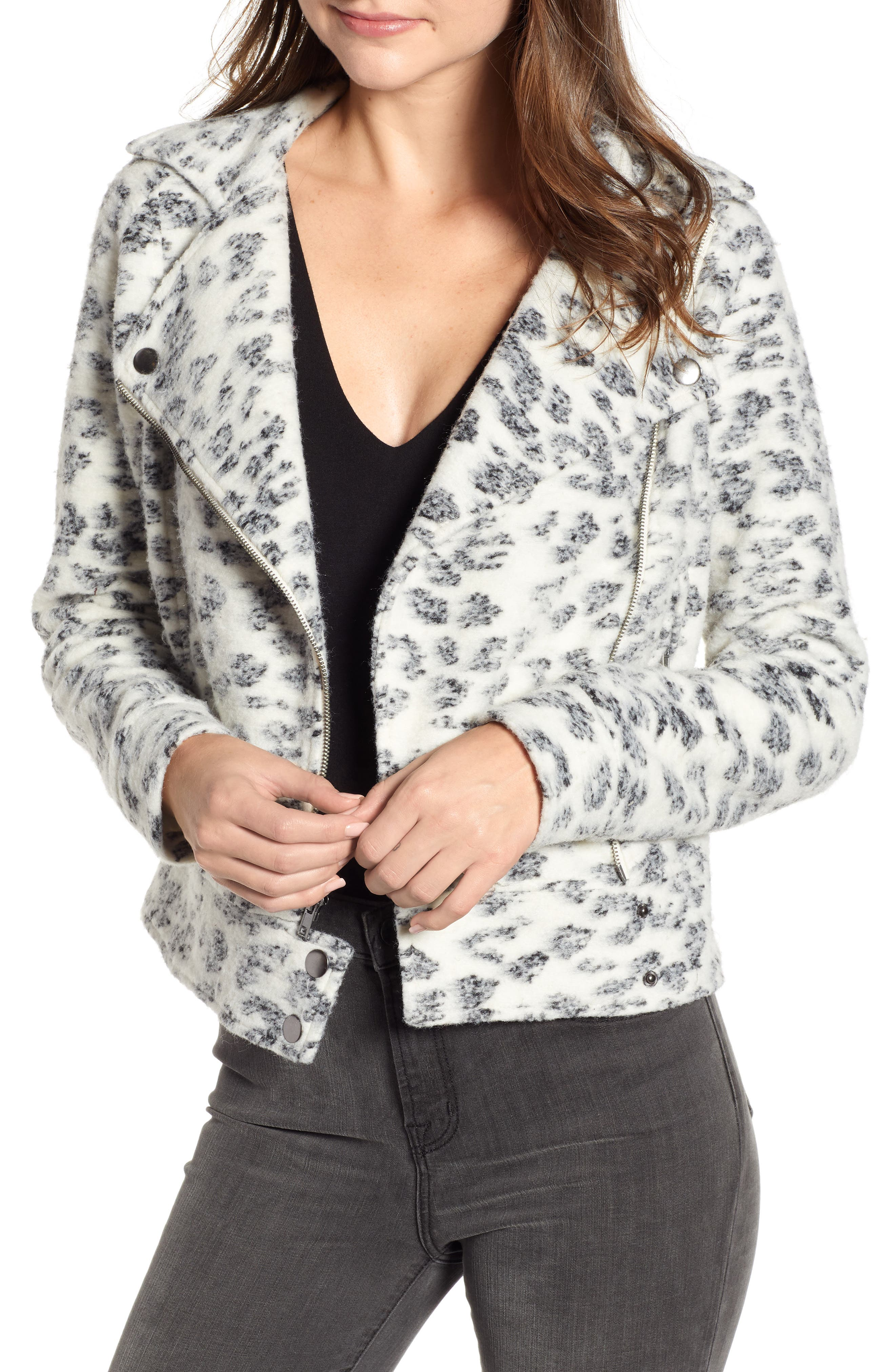 Cupcakes And Cashmere Leopard Fleece Moto Jacket, White