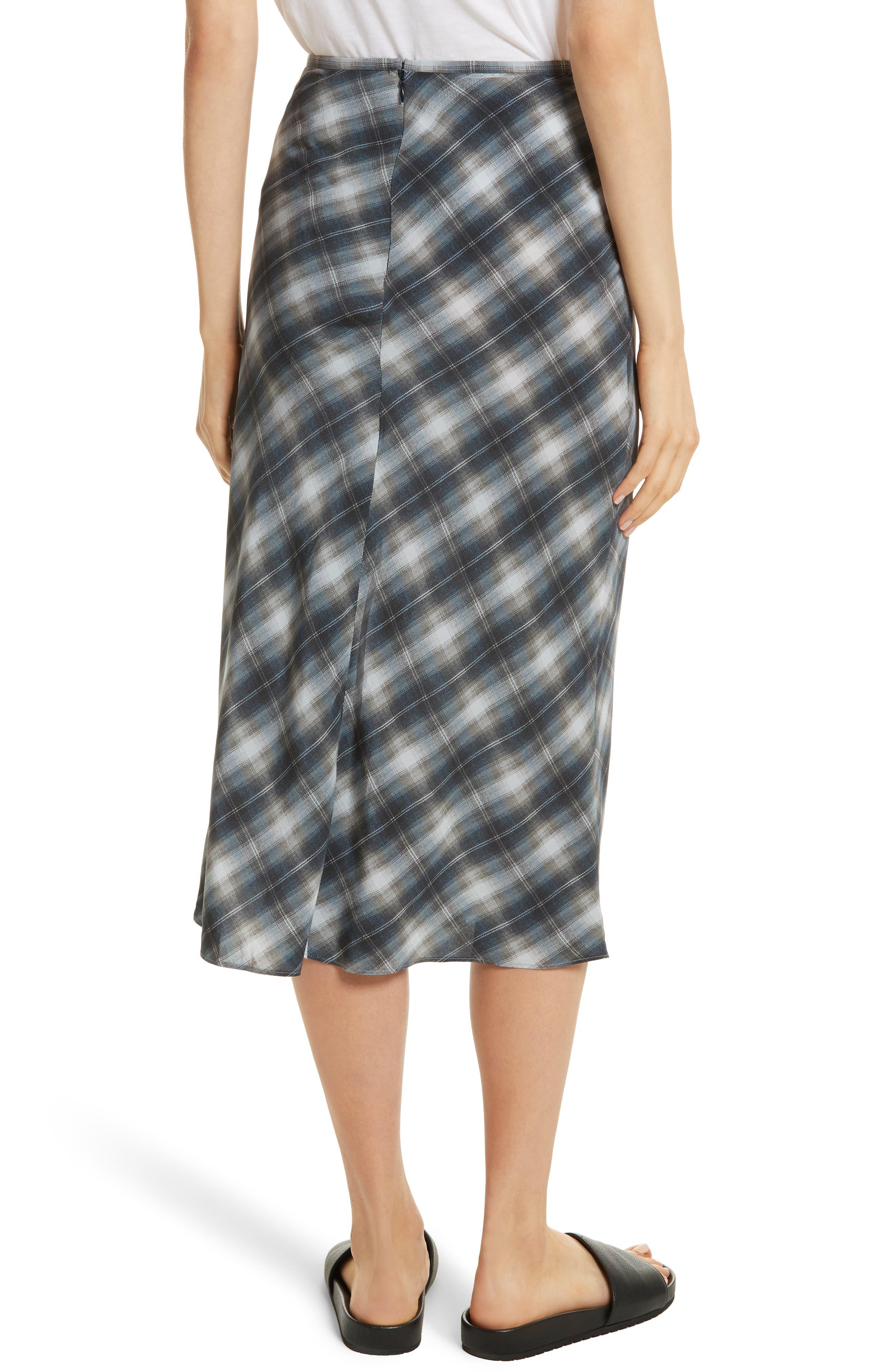Shadow Plaid Midi Silk Skirt,                             Alternate thumbnail 2, color,                             409