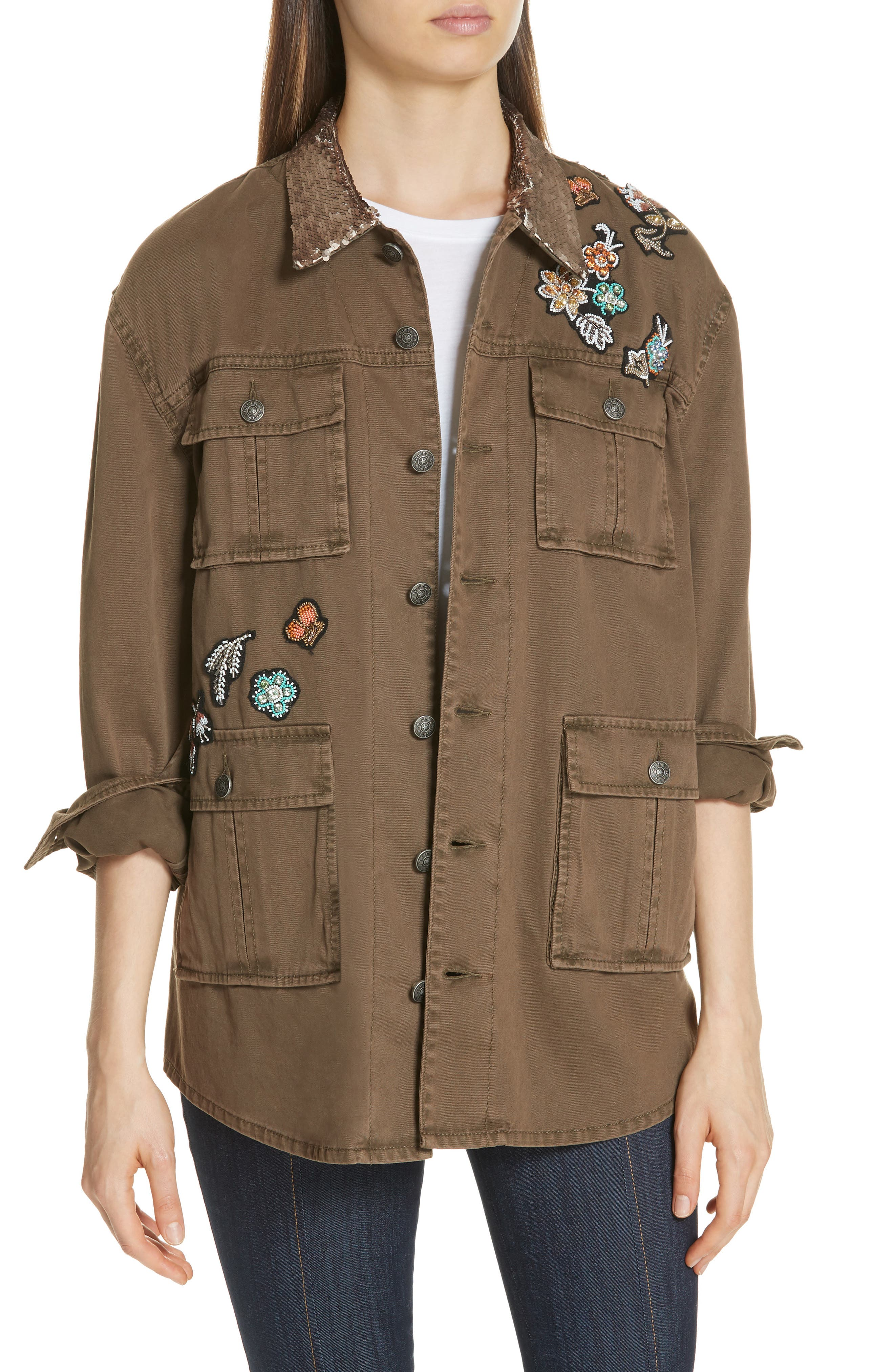 Canyon Sequin Patch Jacket,                         Main,                         color, OLIVE