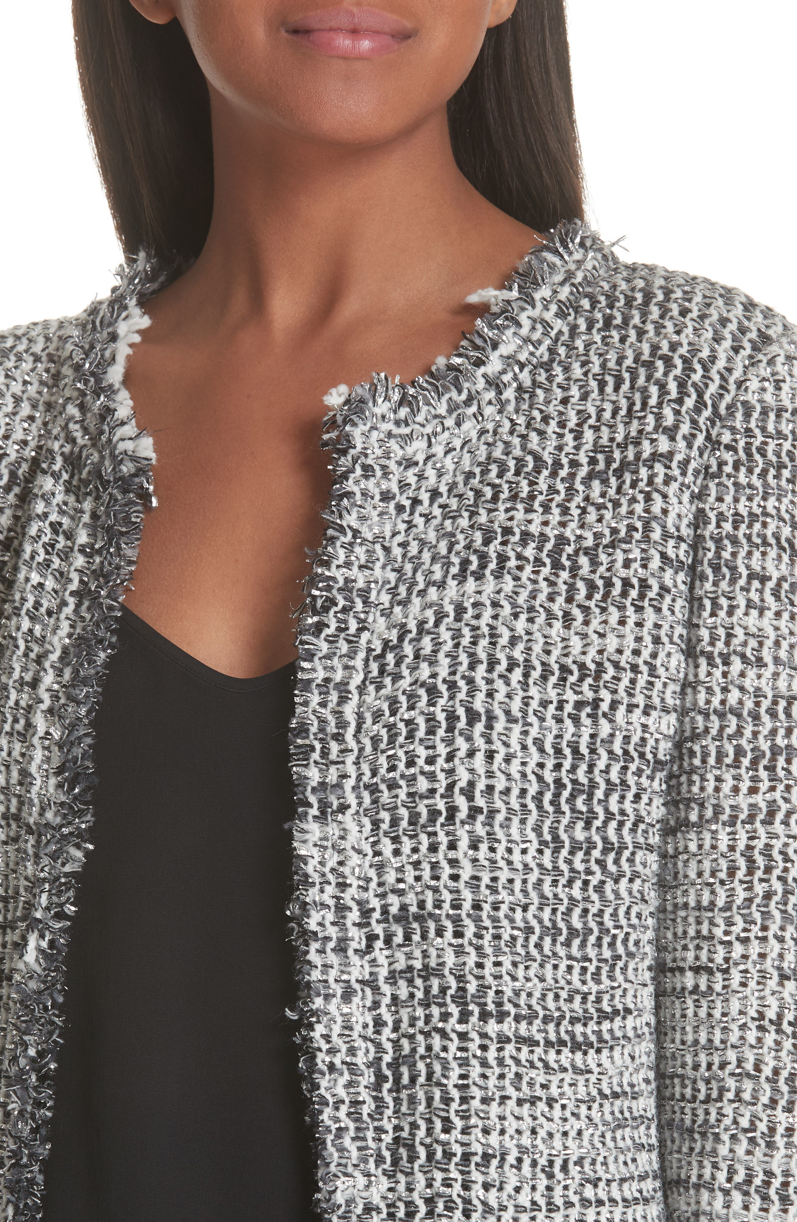 Unplug Metallic Tweed Jacket,                             Alternate thumbnail 4, color,                             GREY