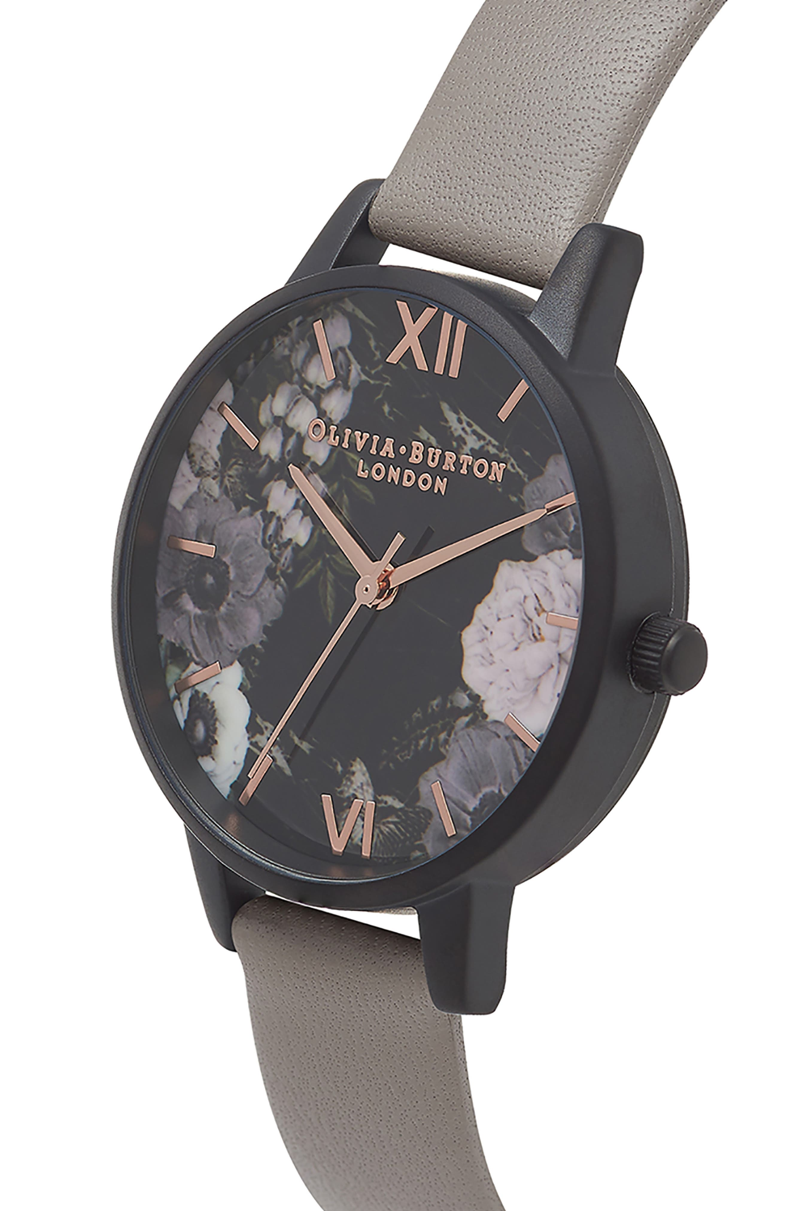 After Dark Floral Leather Strap Watch, 30mm,                             Alternate thumbnail 4, color,                             GREY/ ROSE/ BLACK