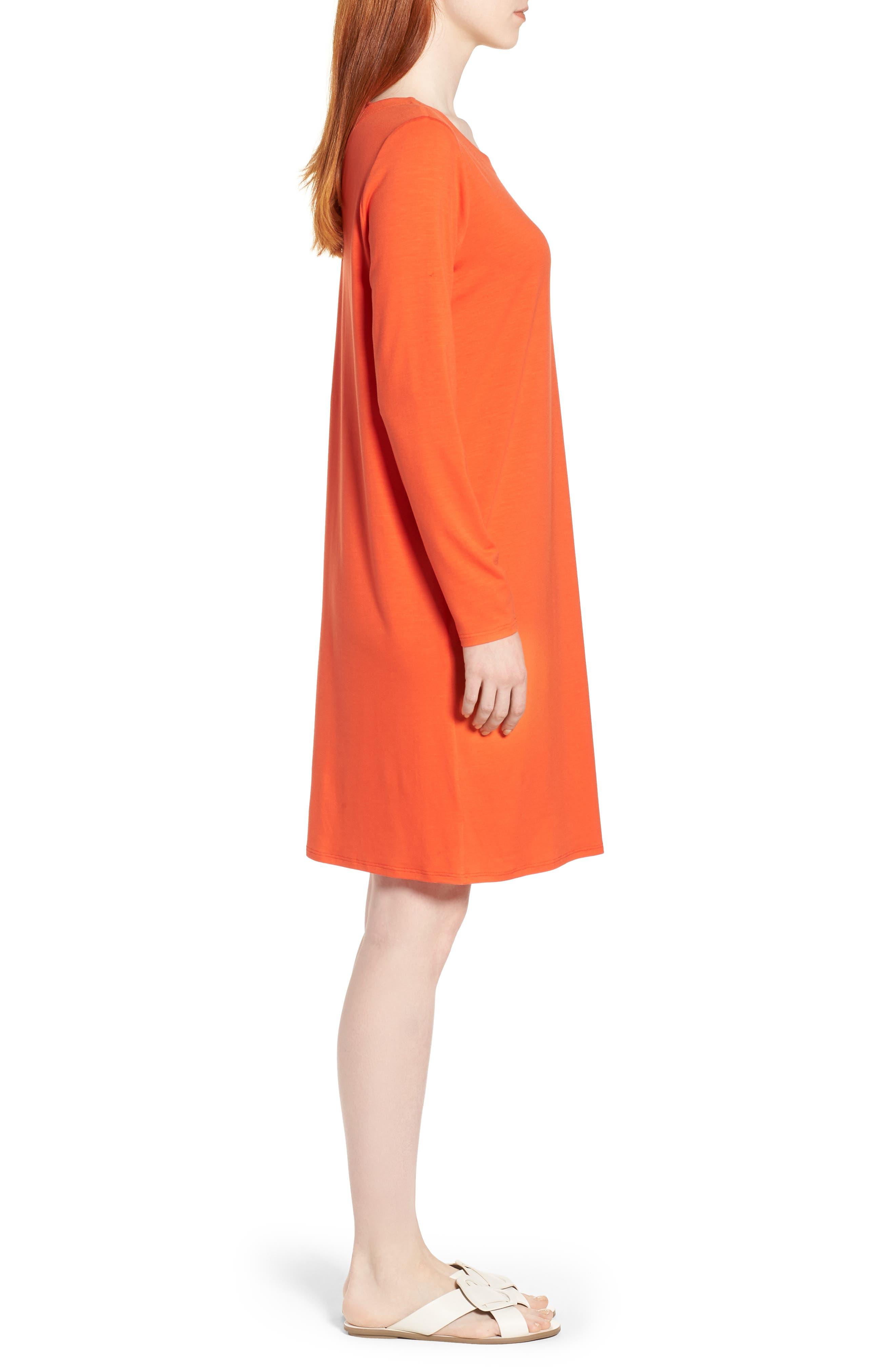 V-Back Stretch Tencel<sup>®</sup> Lyocell Shift Dress,                             Alternate thumbnail 7, color,