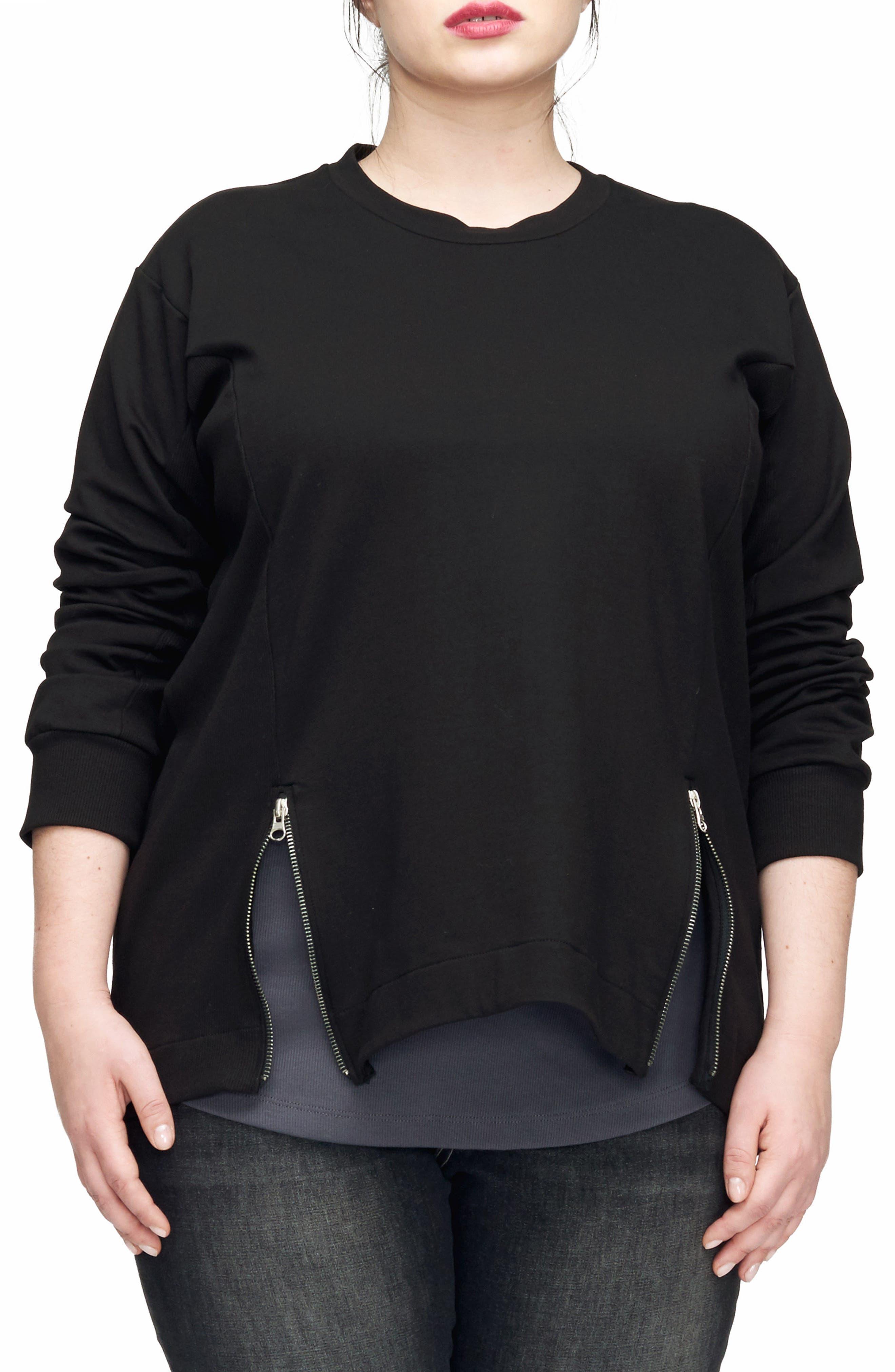 Corbelle Zip Hem Sweatshirt,                             Main thumbnail 1, color,                             BLACK
