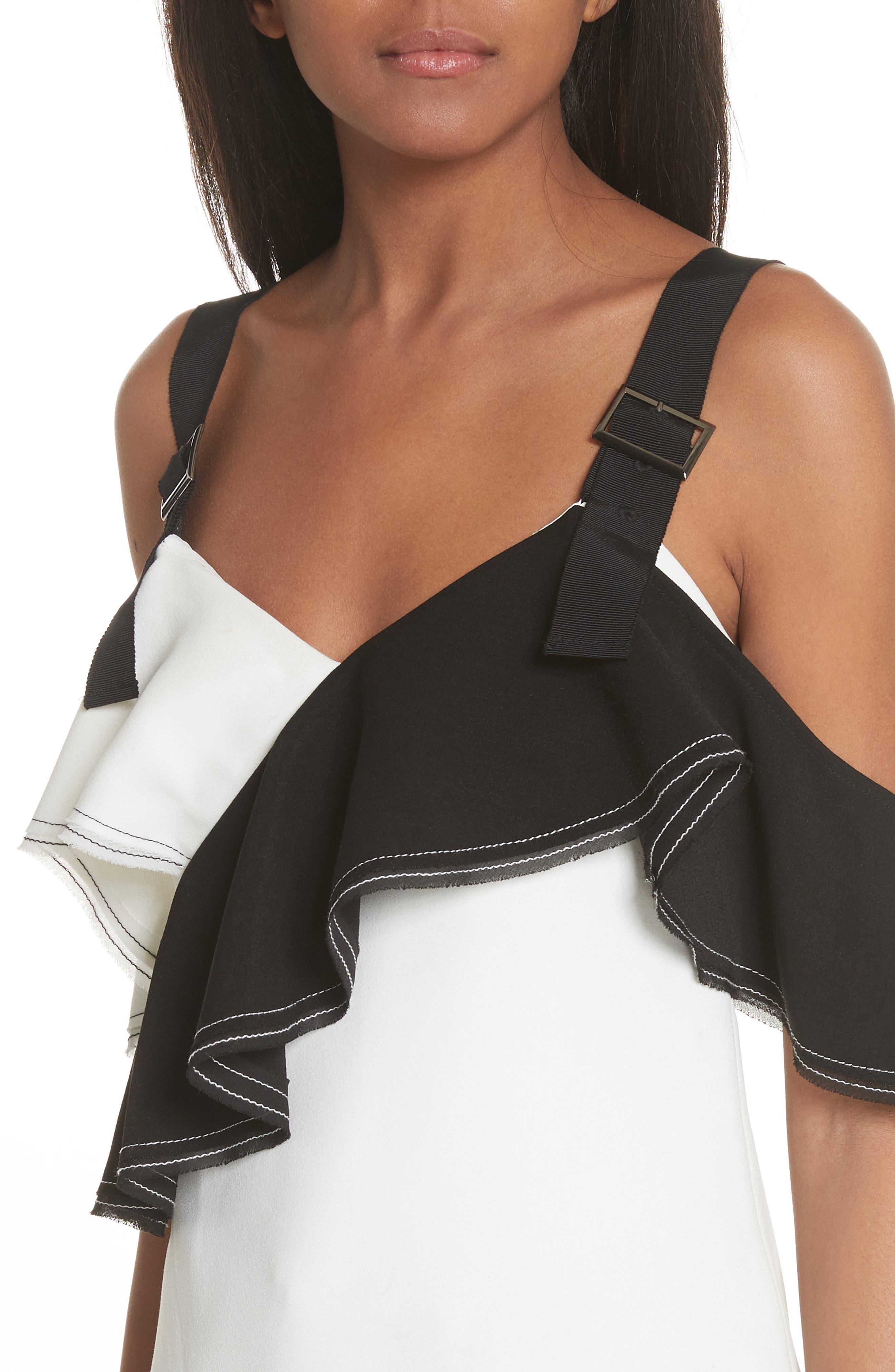 Harness Strap Cold Shoulder Blouse,                             Alternate thumbnail 4, color,                             BLACK/ WHITE