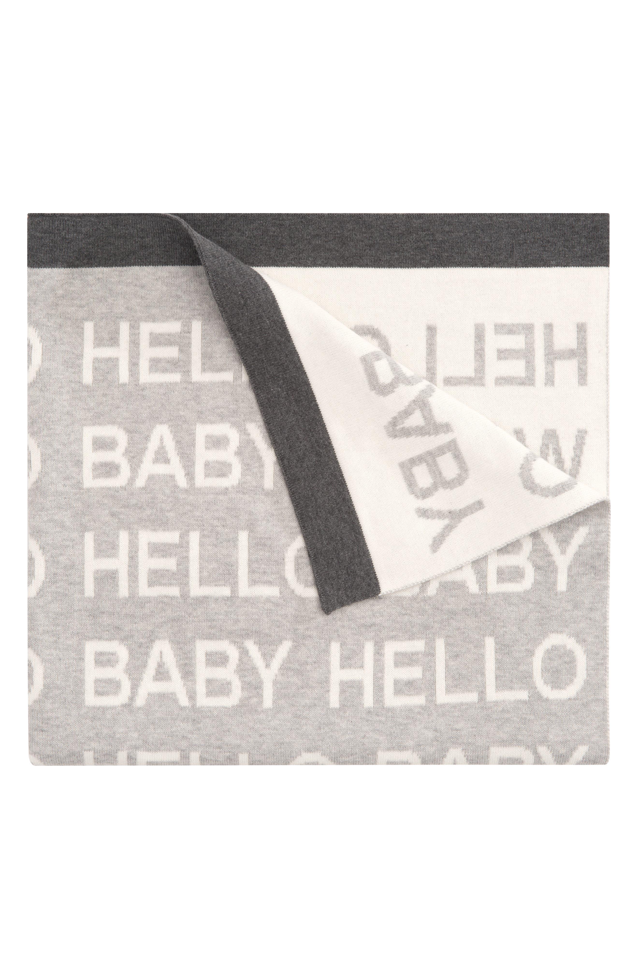'Hello World' Knit Blanket,                             Main thumbnail 1, color,                             020