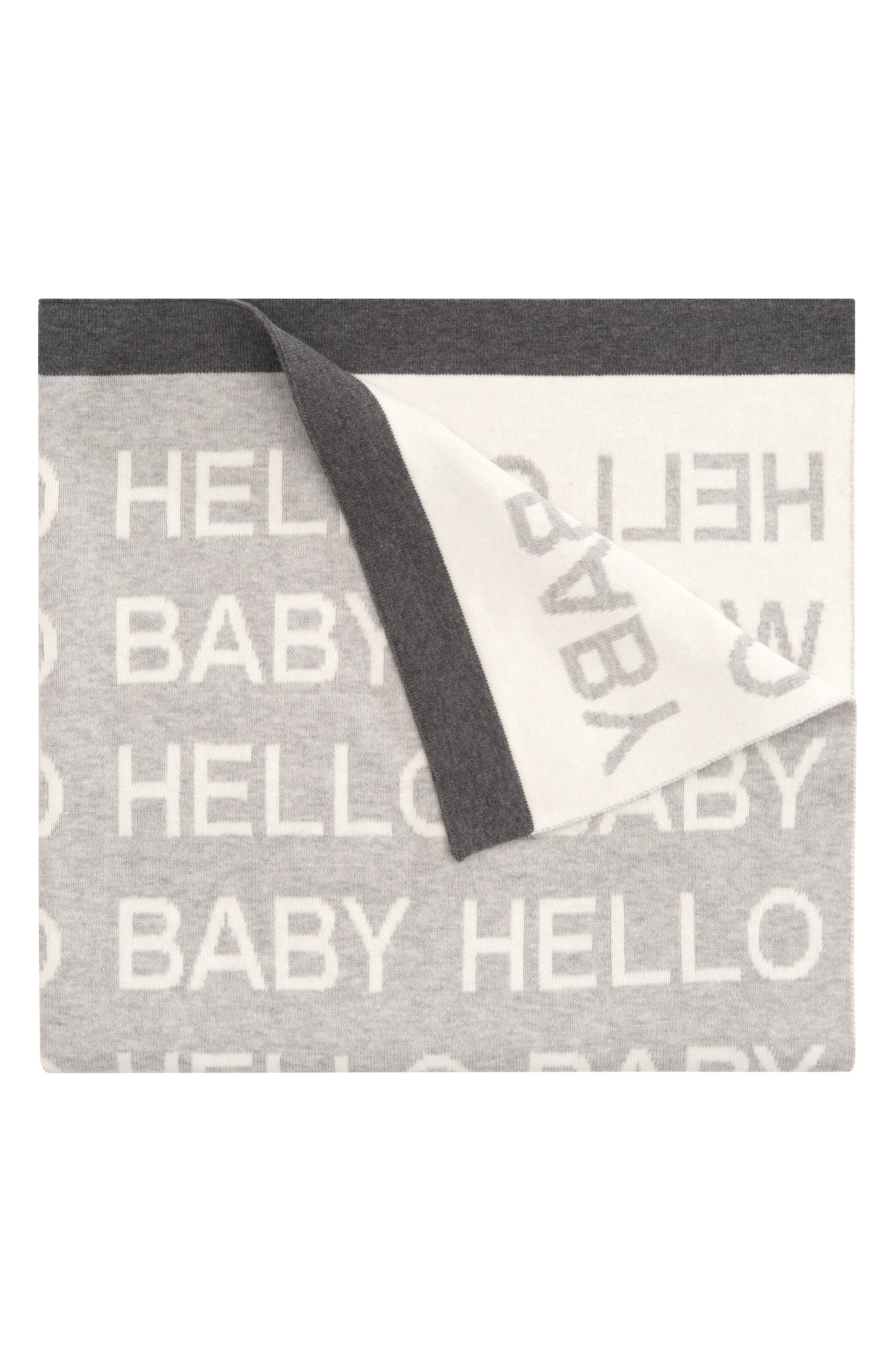 'Hello World' Knit Blanket,                         Main,                         color, 020