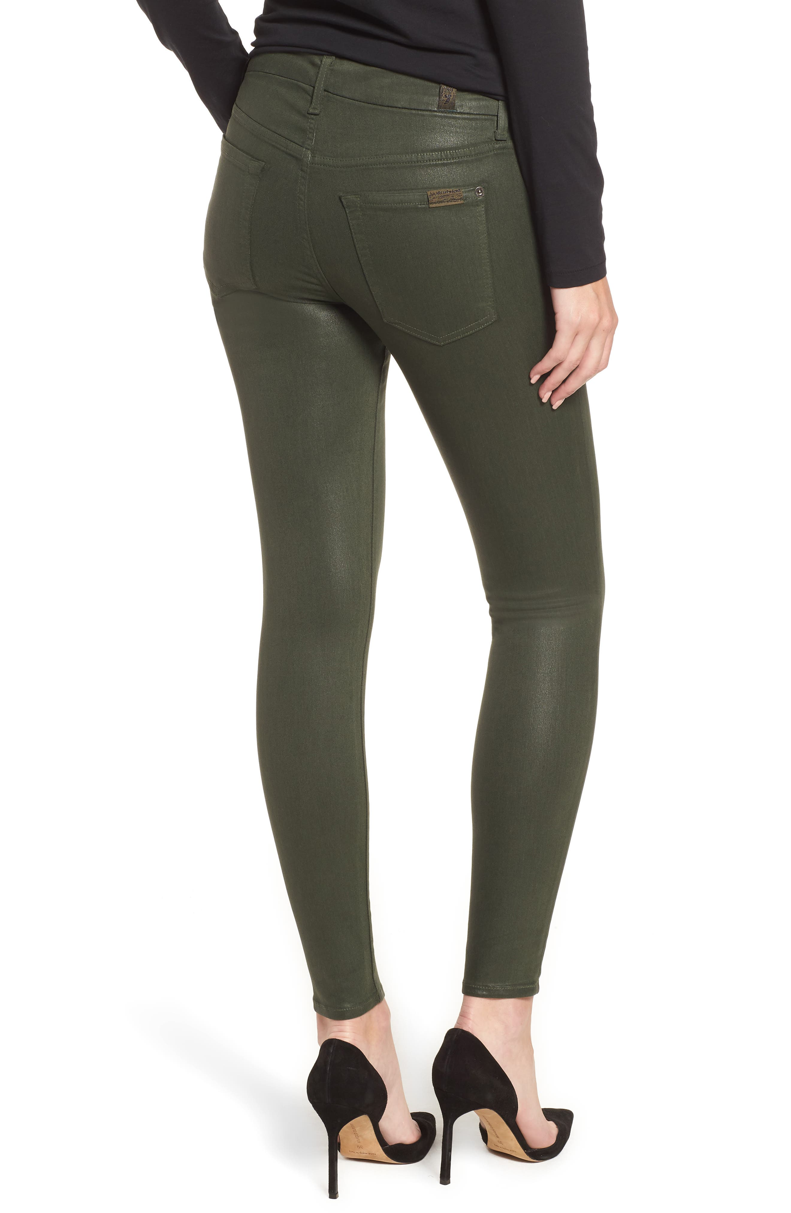Coated Ankle Skinny Jeans,                             Alternate thumbnail 2, color,                             COATED MOSS GREEN