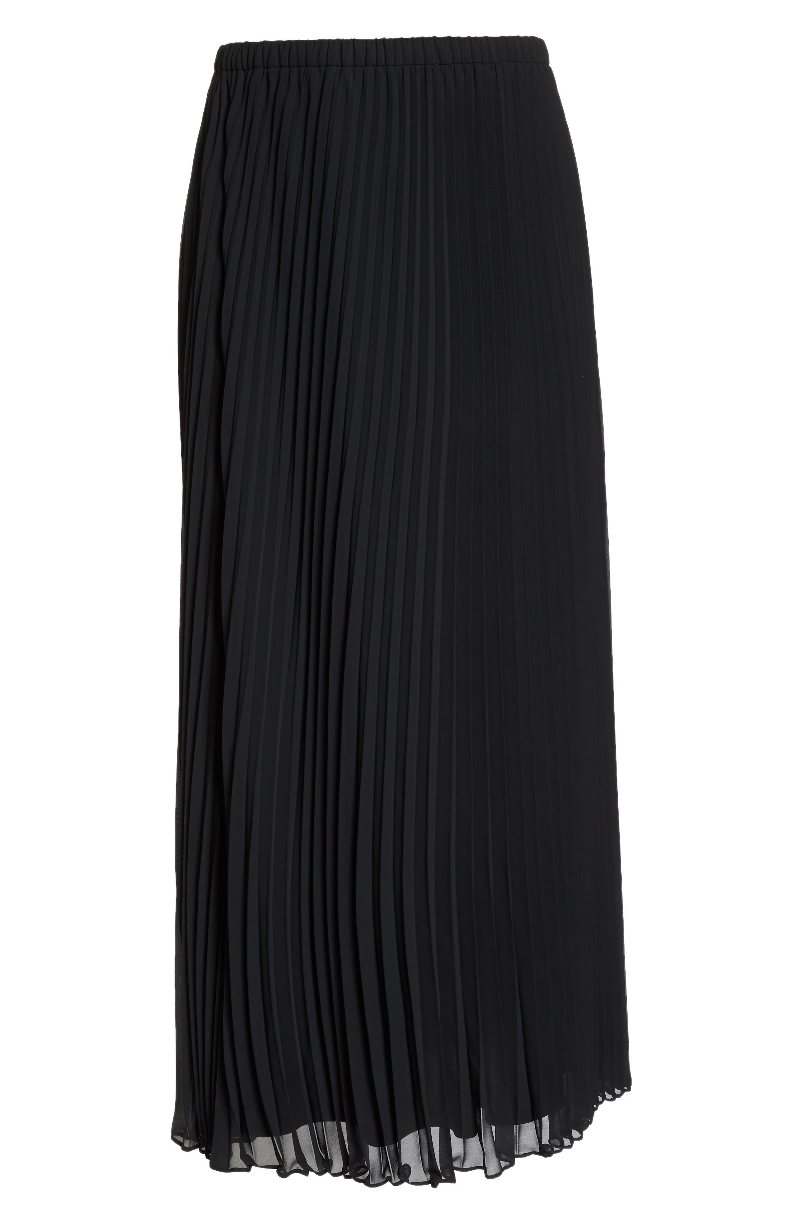 Long Pleated Chiffon Skirt,                             Alternate thumbnail 6, color,                             BLACK