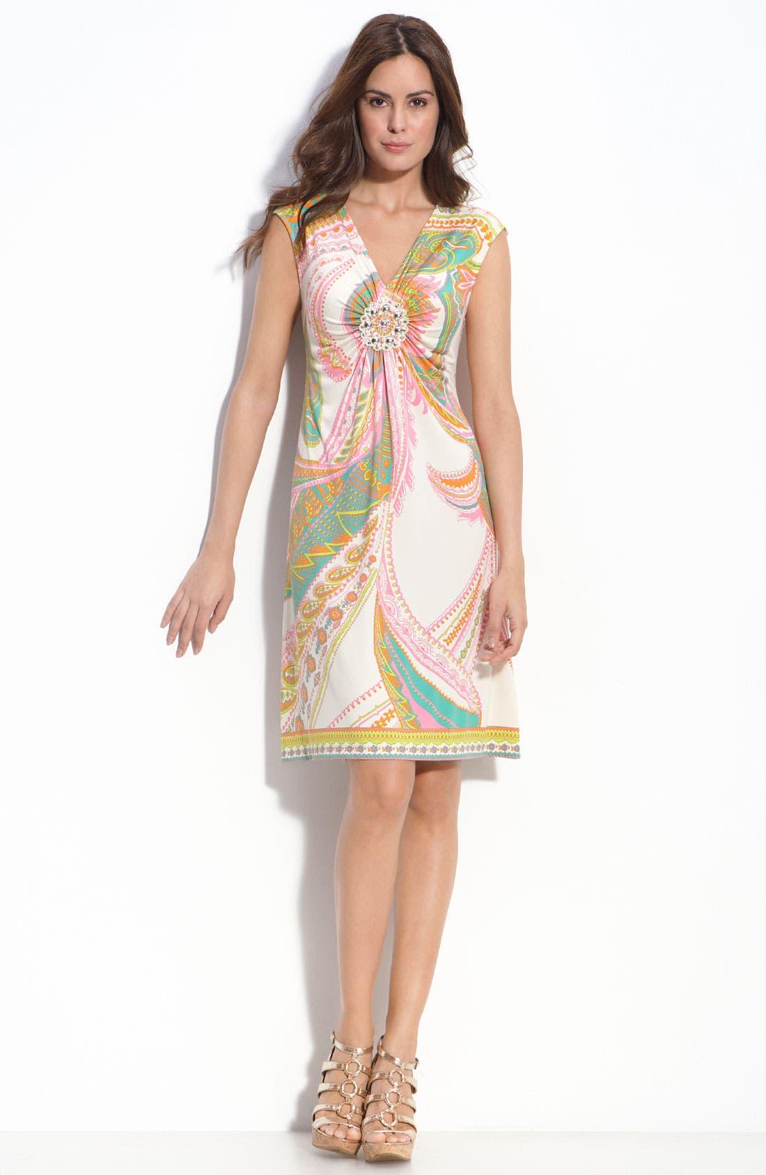 Medallion Detail Jersey Sheath Dress,                             Main thumbnail 1, color,