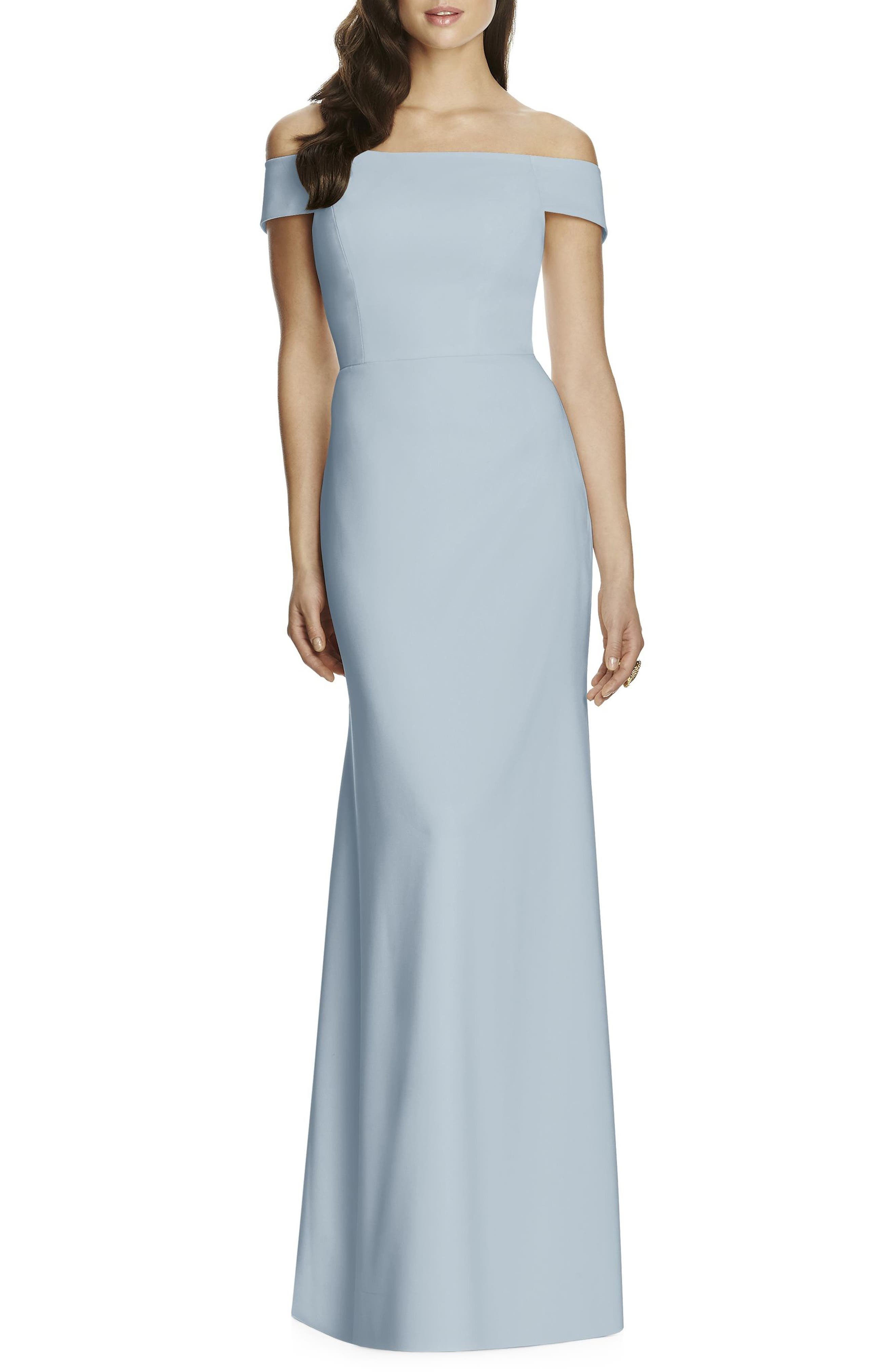 Dessy Collection Off The Shoulder Crepe Gown, Blue