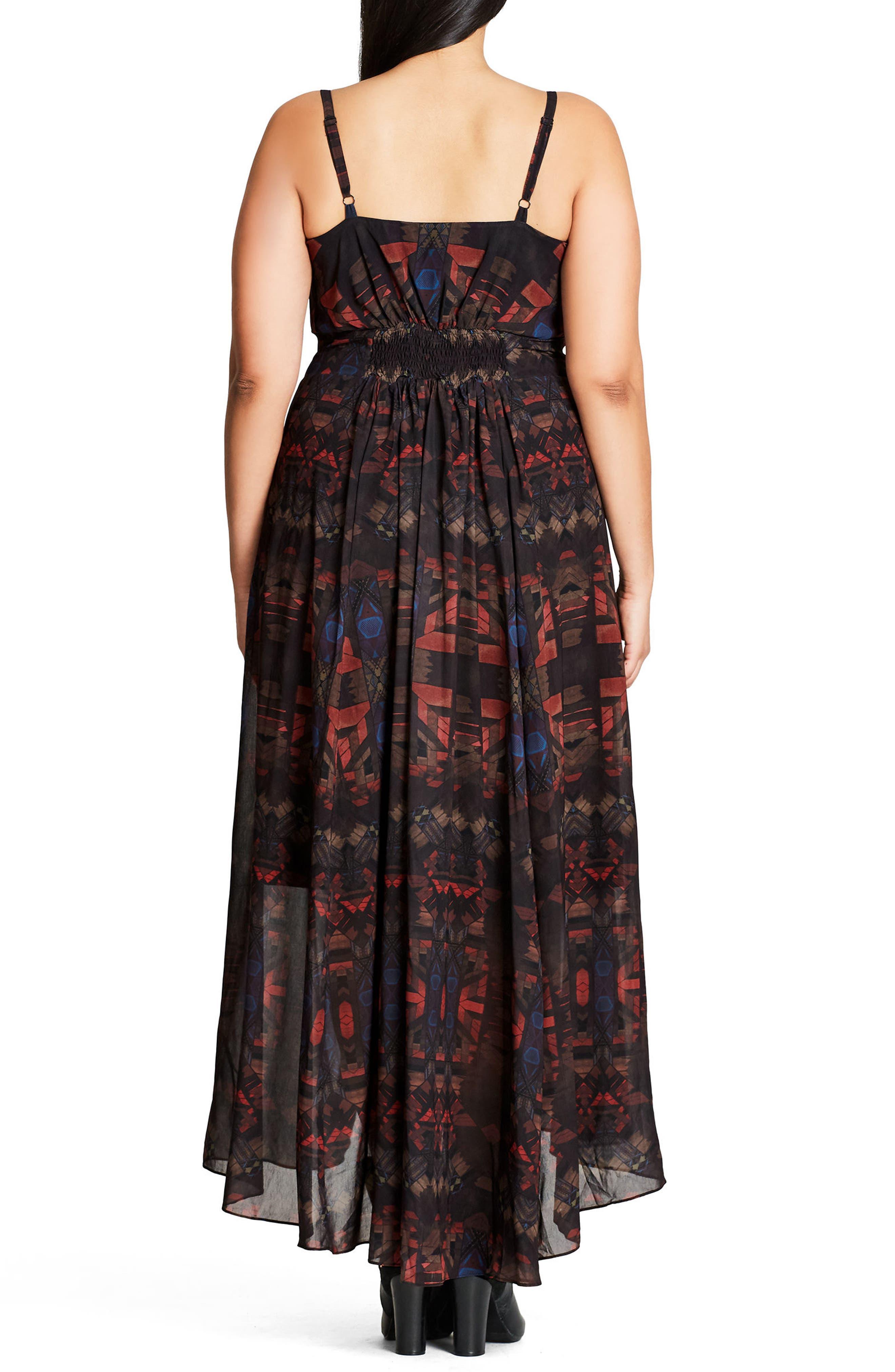 Aztec Warrior Smocked Waist Maxi Dress,                             Alternate thumbnail 3, color,                             001