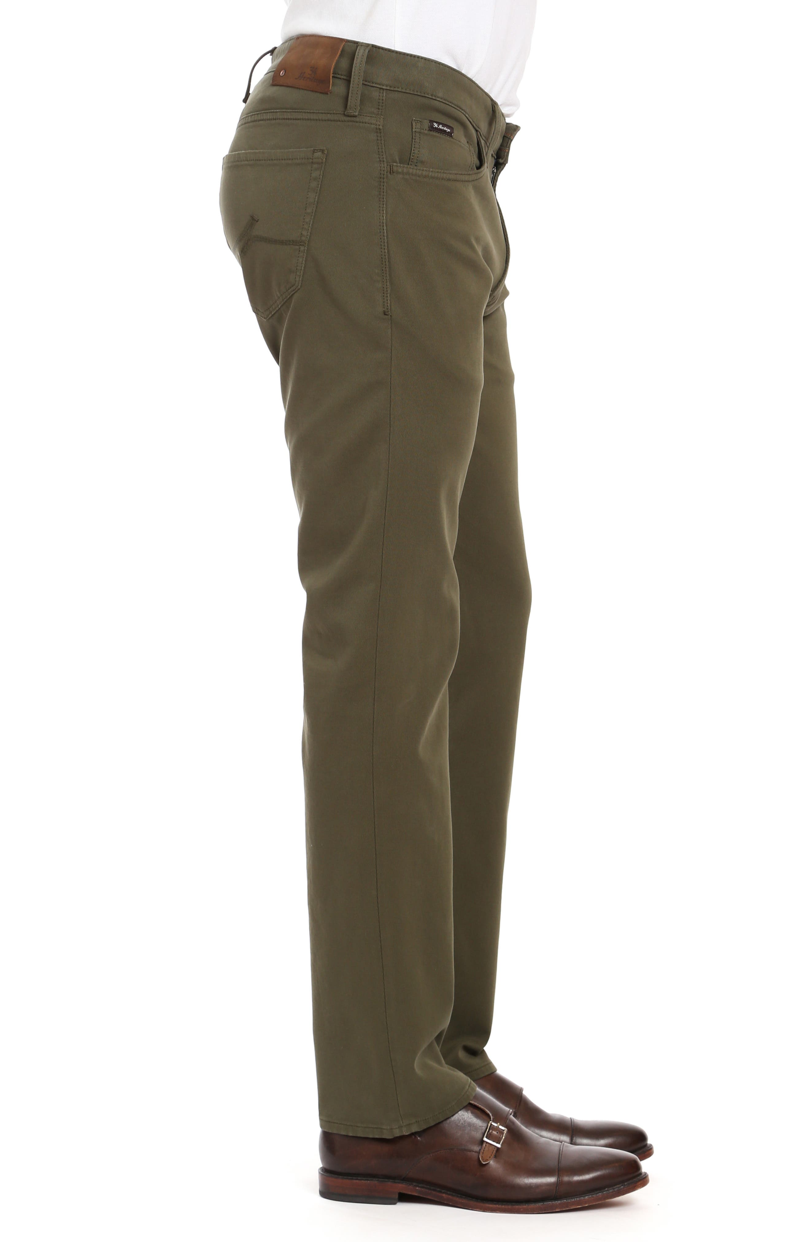 Courage Straight Leg Twill Pants,                             Alternate thumbnail 3, color,                             GREEN FINE TWILL