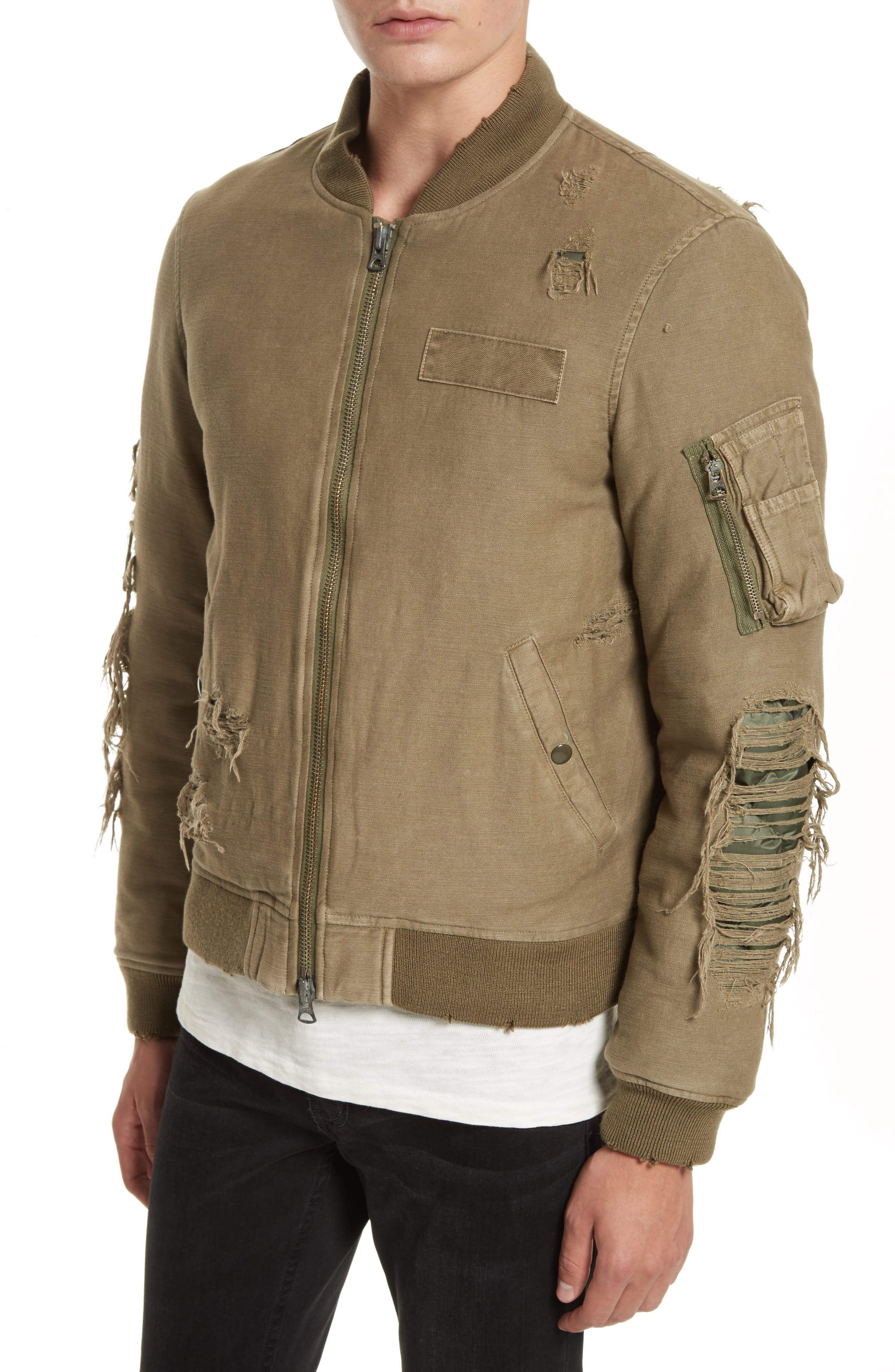 Ripped Canvas Bomber,                             Alternate thumbnail 4, color,                             301