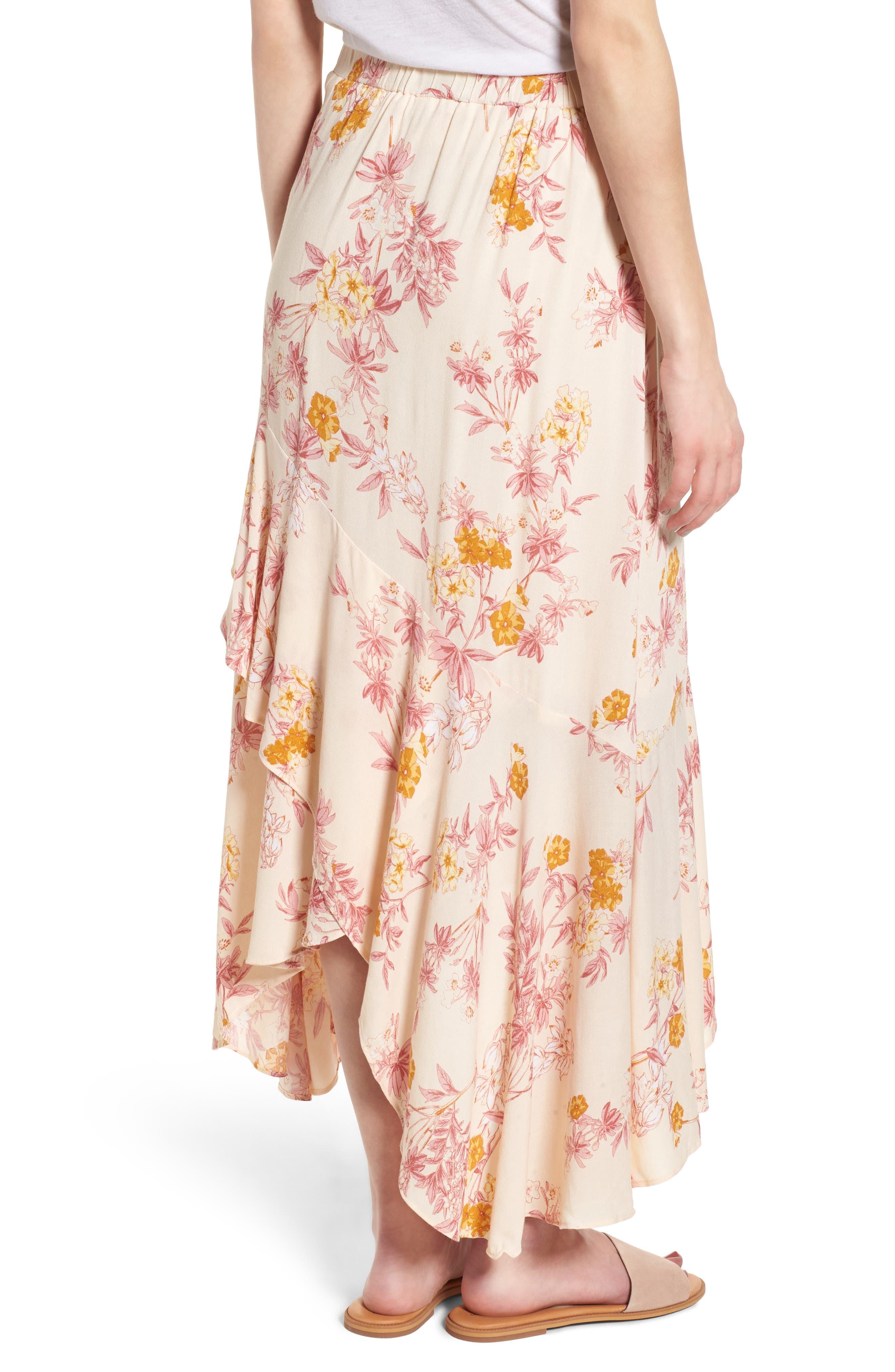 Print High/Low Midi Skirt,                             Alternate thumbnail 2, color,                             260