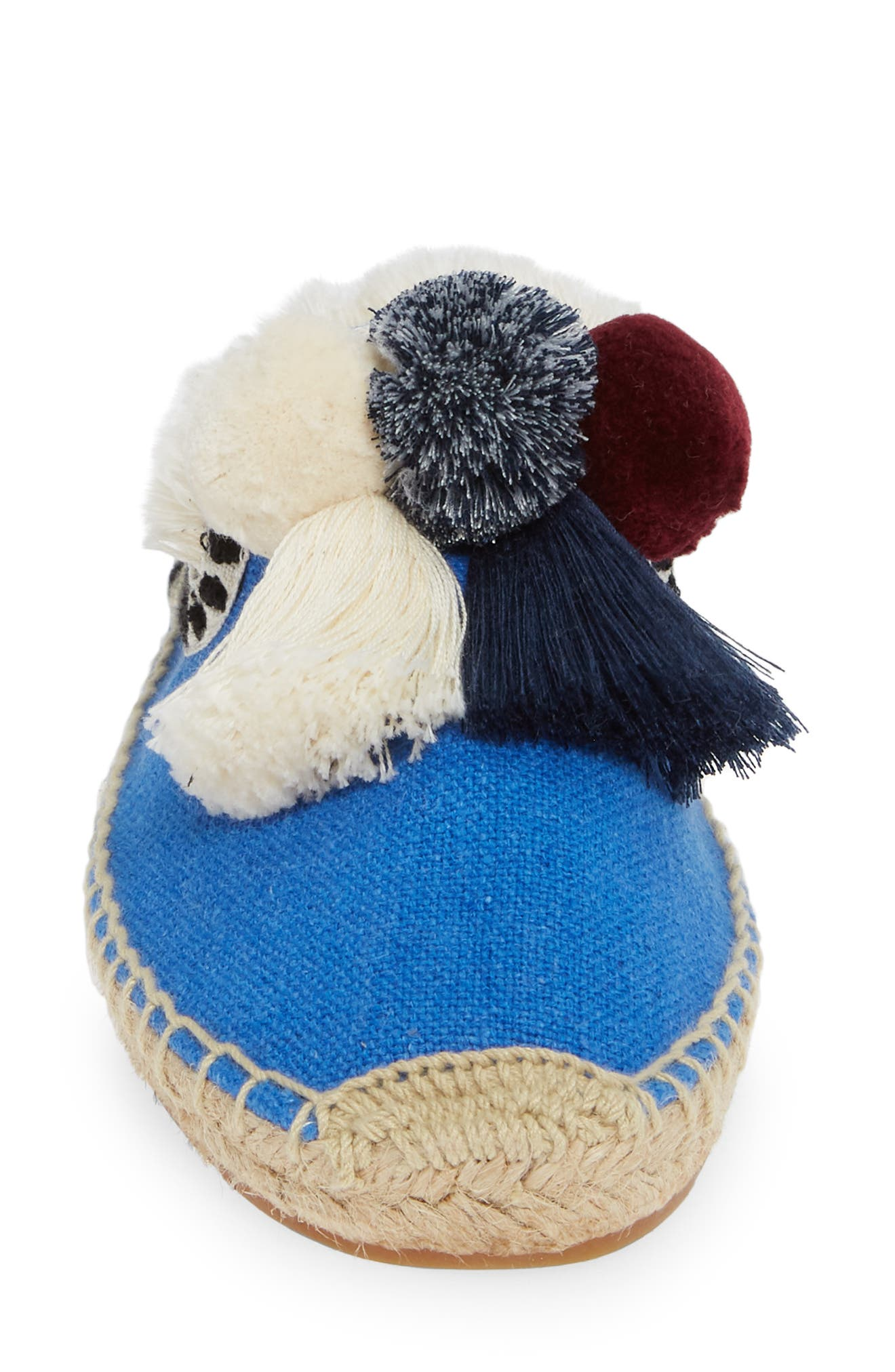 Pompom Espadrille Mule,                             Alternate thumbnail 4, color,                             MARLIN BLUE FABRIC