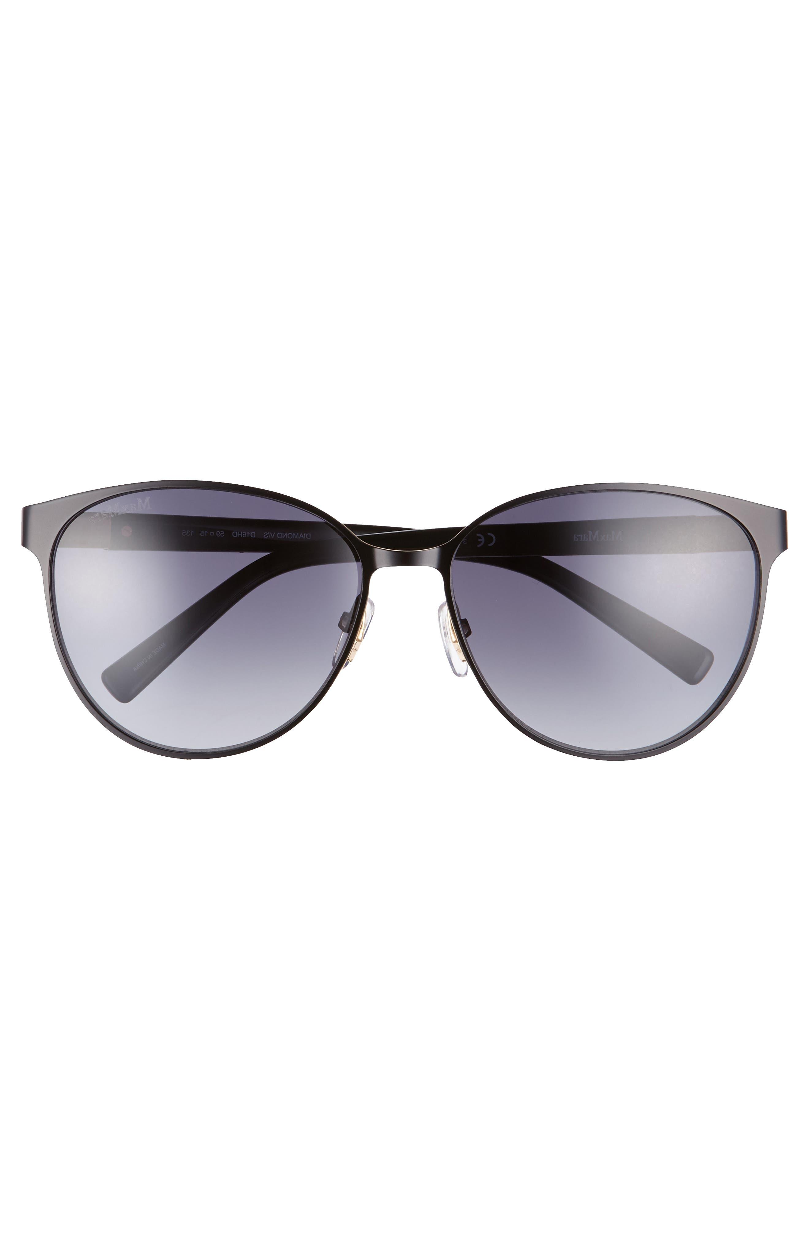 Diamov 59mm Gradient Cat Eye Sunglasses,                             Alternate thumbnail 3, color,                             MATTE BLACK
