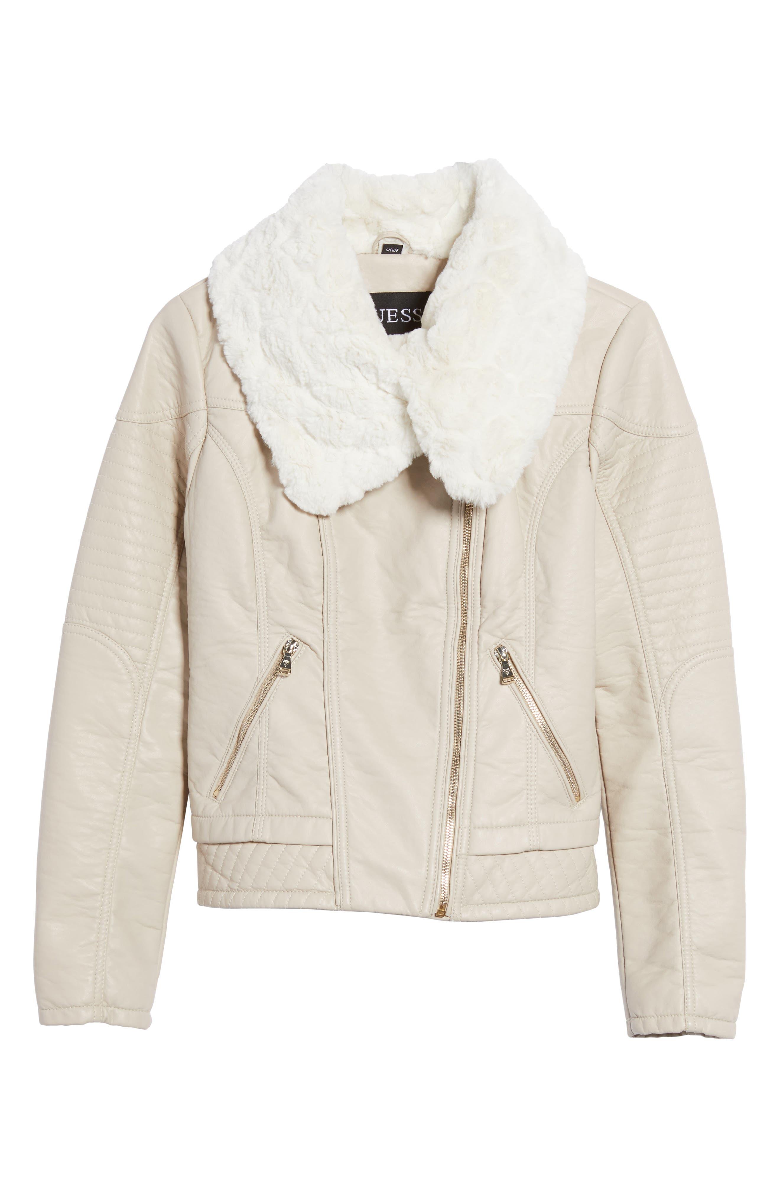 Faux Fur Collar Jacket,                             Alternate thumbnail 5, color,                             077