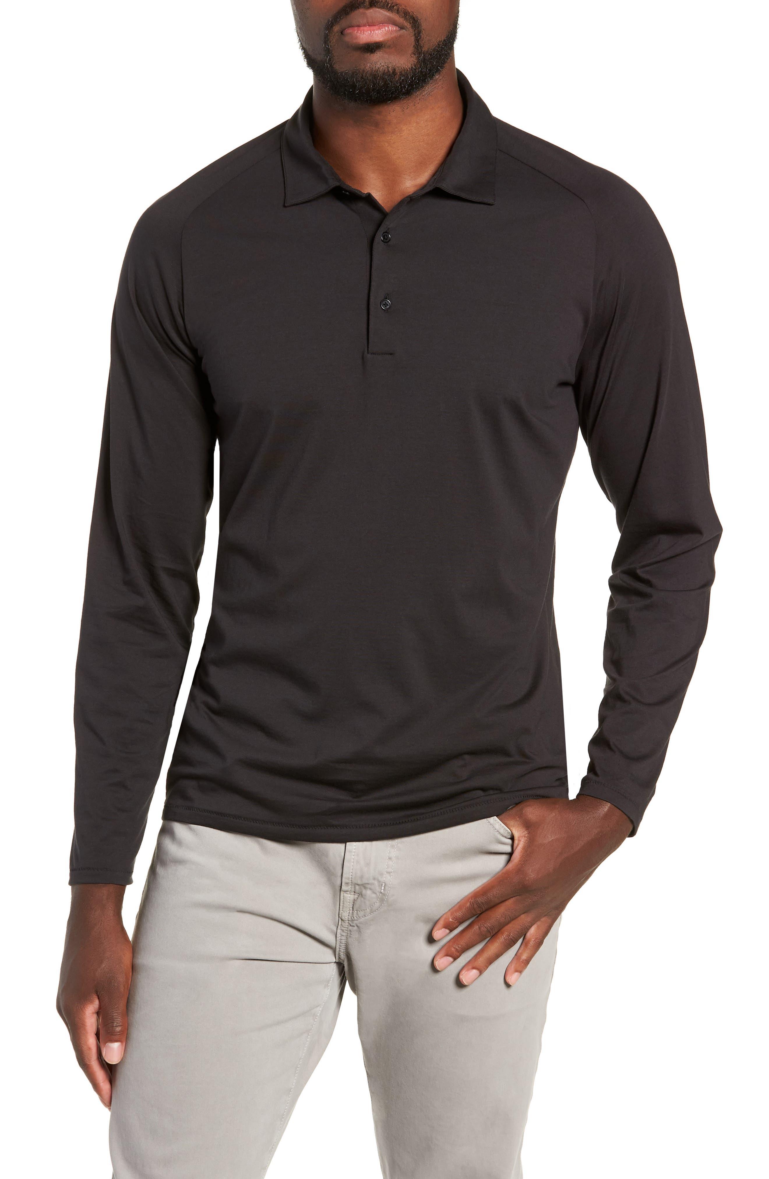 Superfine Slim Fit Long Sleeve Polo,                             Main thumbnail 1, color,                             CAVIAR BLACK
