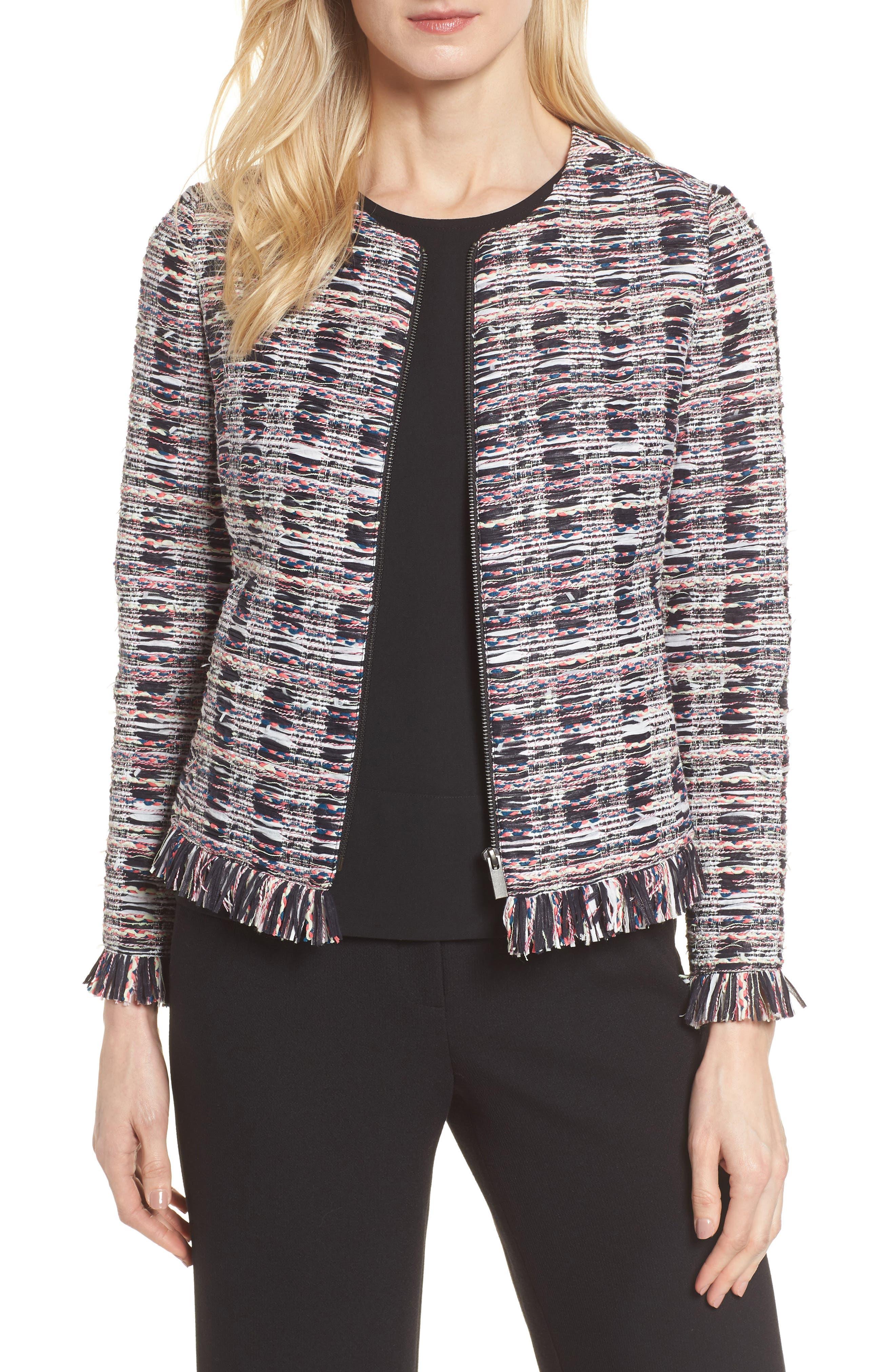 Zip Front Tweed Jacket,                             Main thumbnail 1, color,