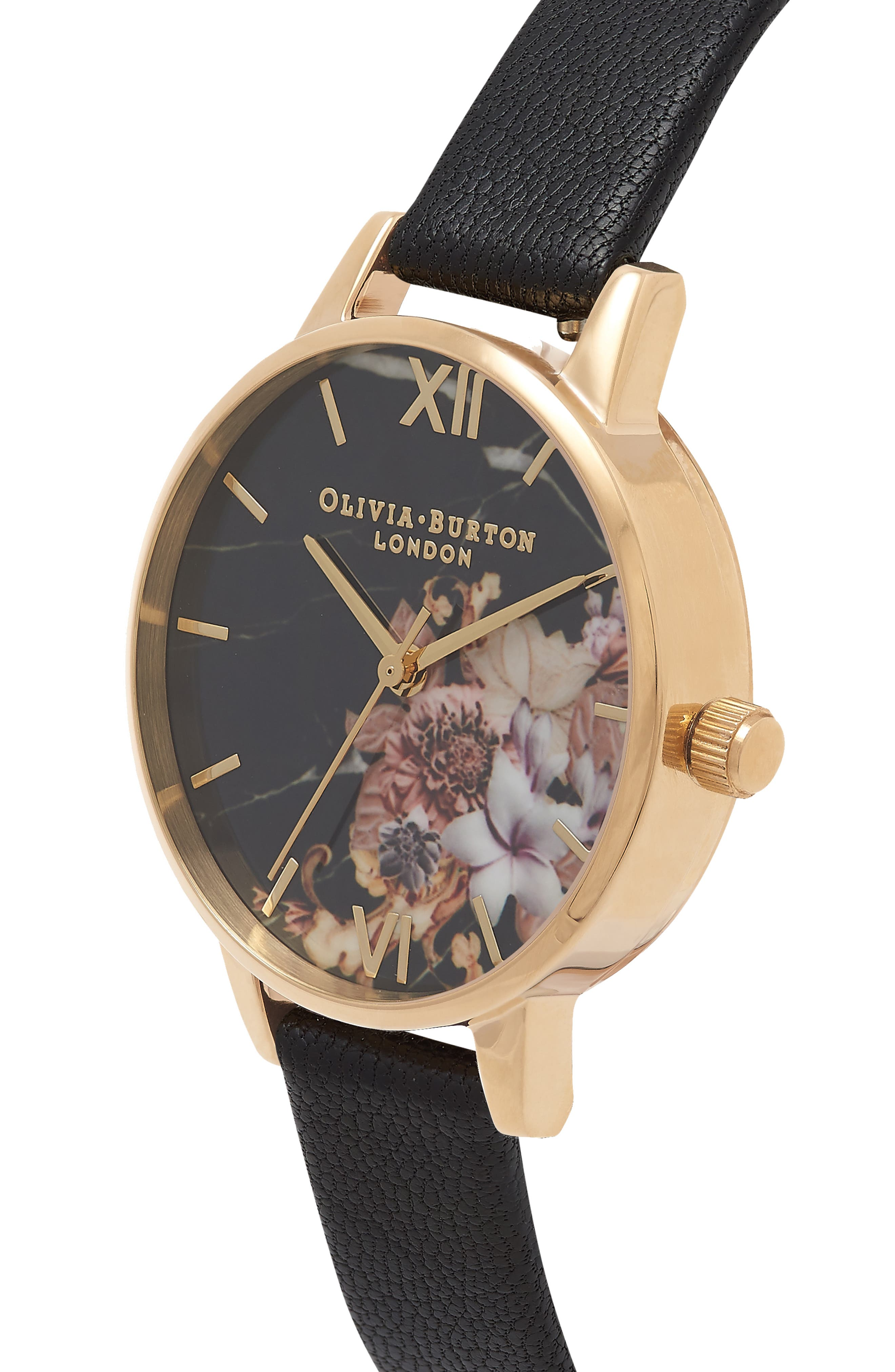 Marble Floral Leather Strap Watch, 30mm,                             Alternate thumbnail 4, color,                             001