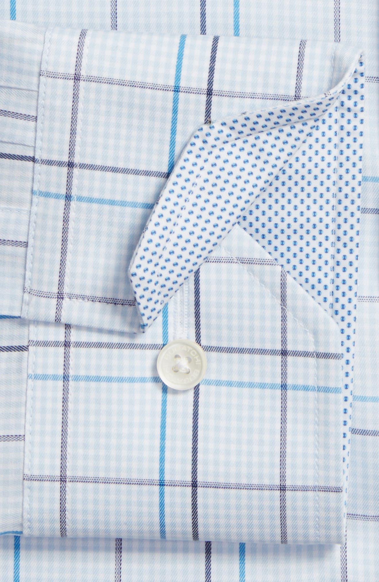 Trim Fit Plaid Dress Shirt,                             Alternate thumbnail 2, color,