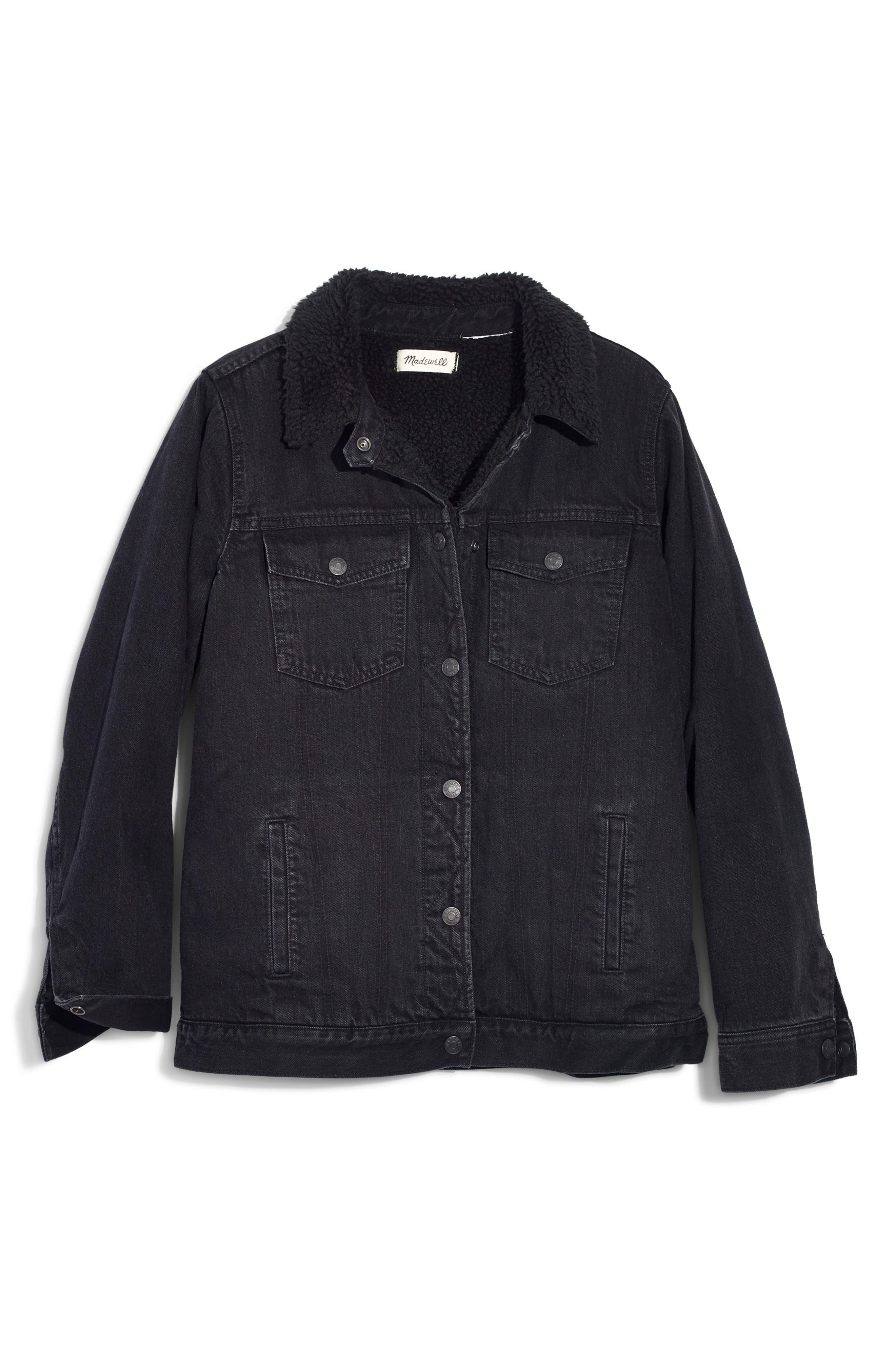 Oversize Denim Jacket with Fleece Collar,                             Alternate thumbnail 4, color,                             GALLAGHER WASH