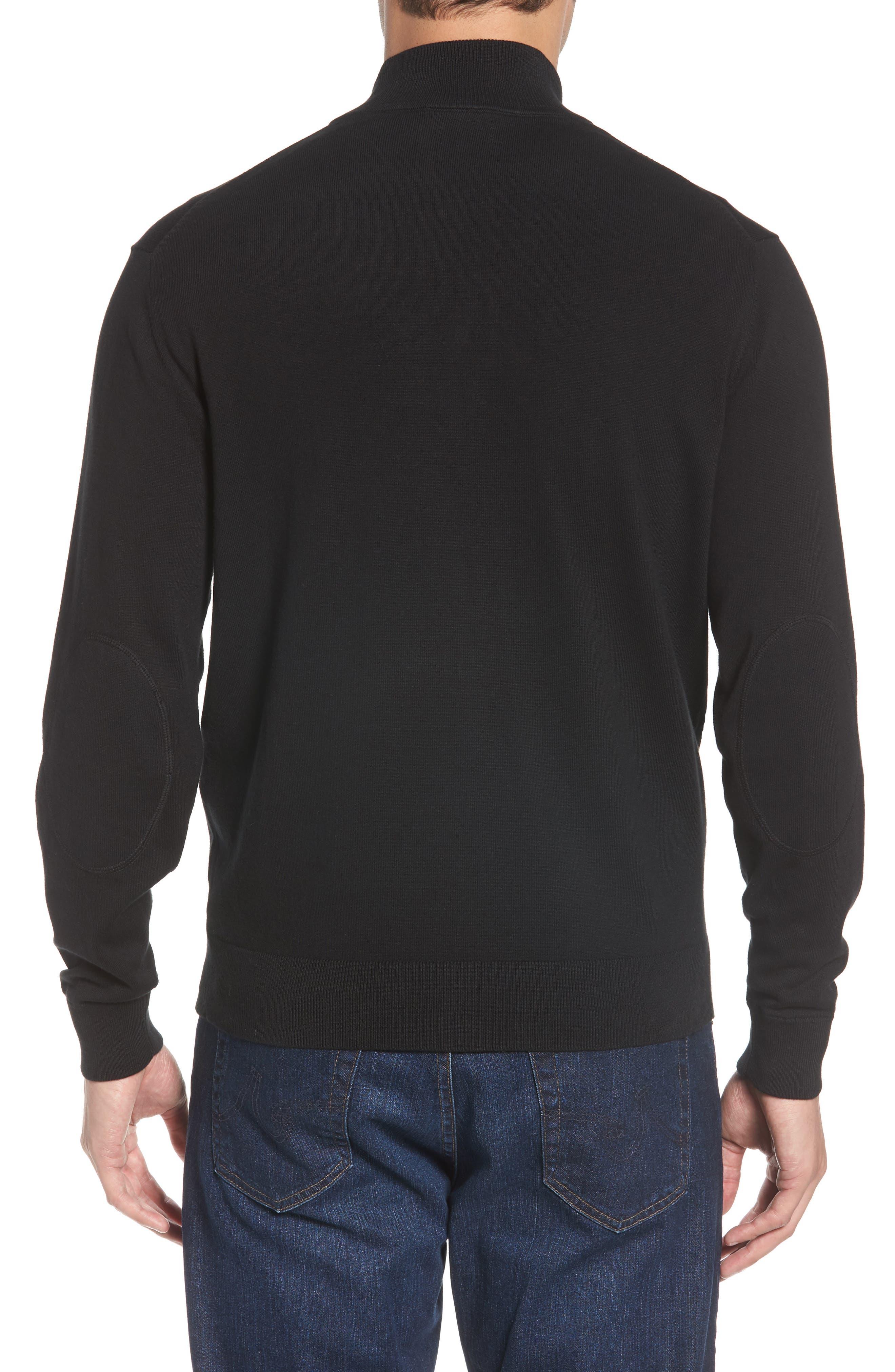 New York Jets - Lakemont Regular Fit Quarter Zip Sweater,                             Alternate thumbnail 2, color,                             BLACK