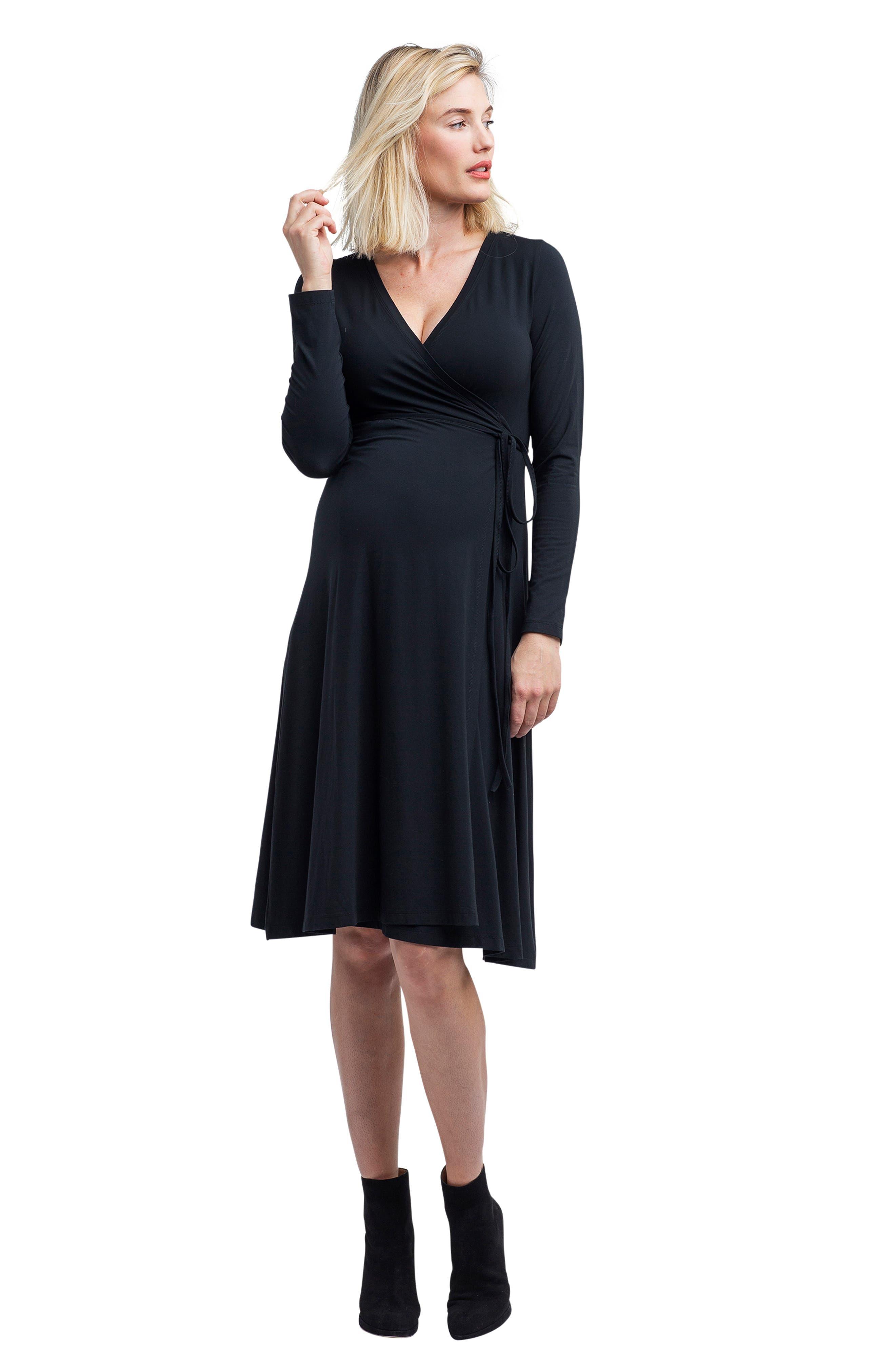 Tessa Jersey Maternity/Nursing Wrap Dress,                             Alternate thumbnail 7, color,                             BLACK