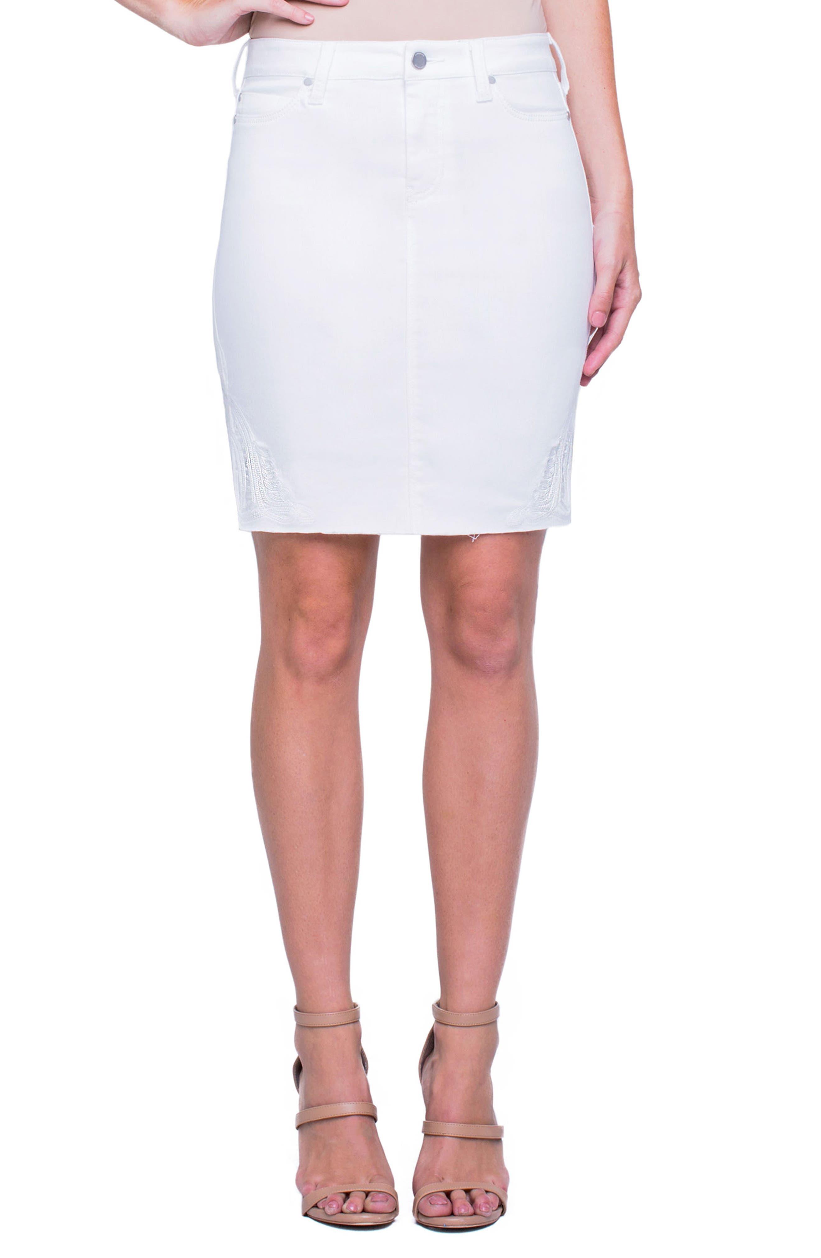 Liverpool Embroidered Slit Hem Denim Skirt