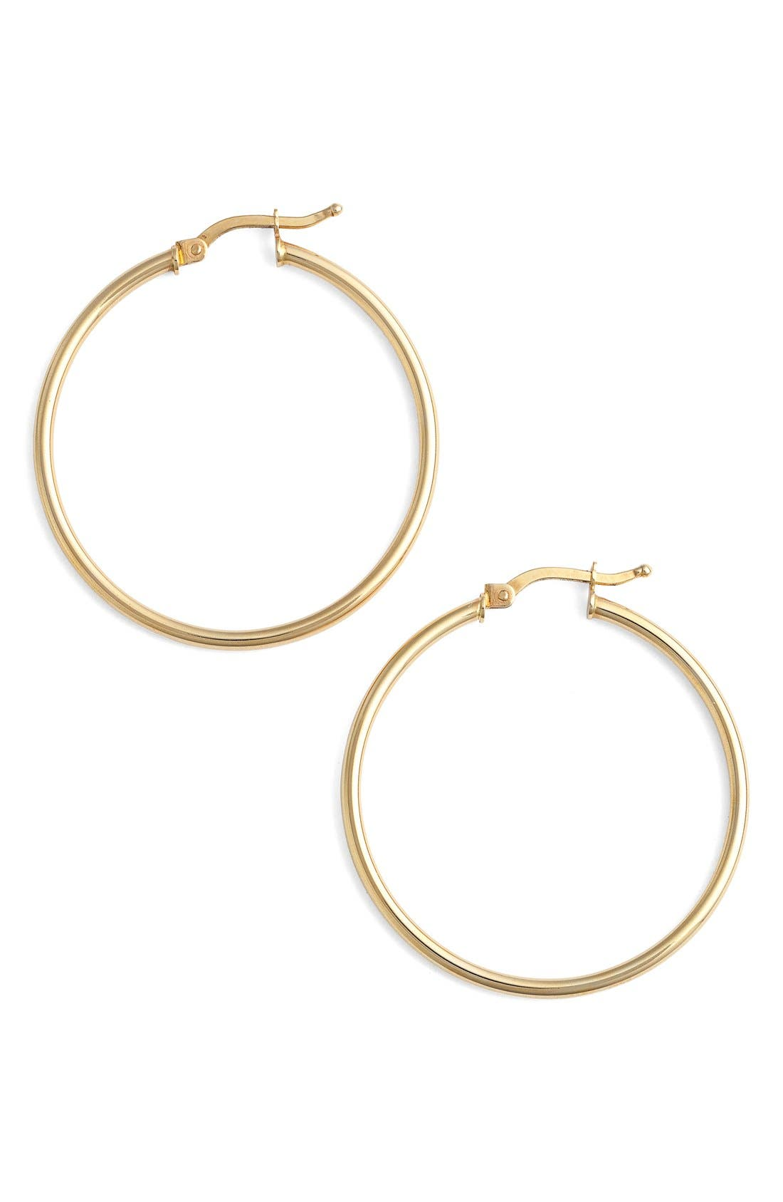 14K Gold Hoop Earrings,                         Main,                         color, YELLOW GOLD