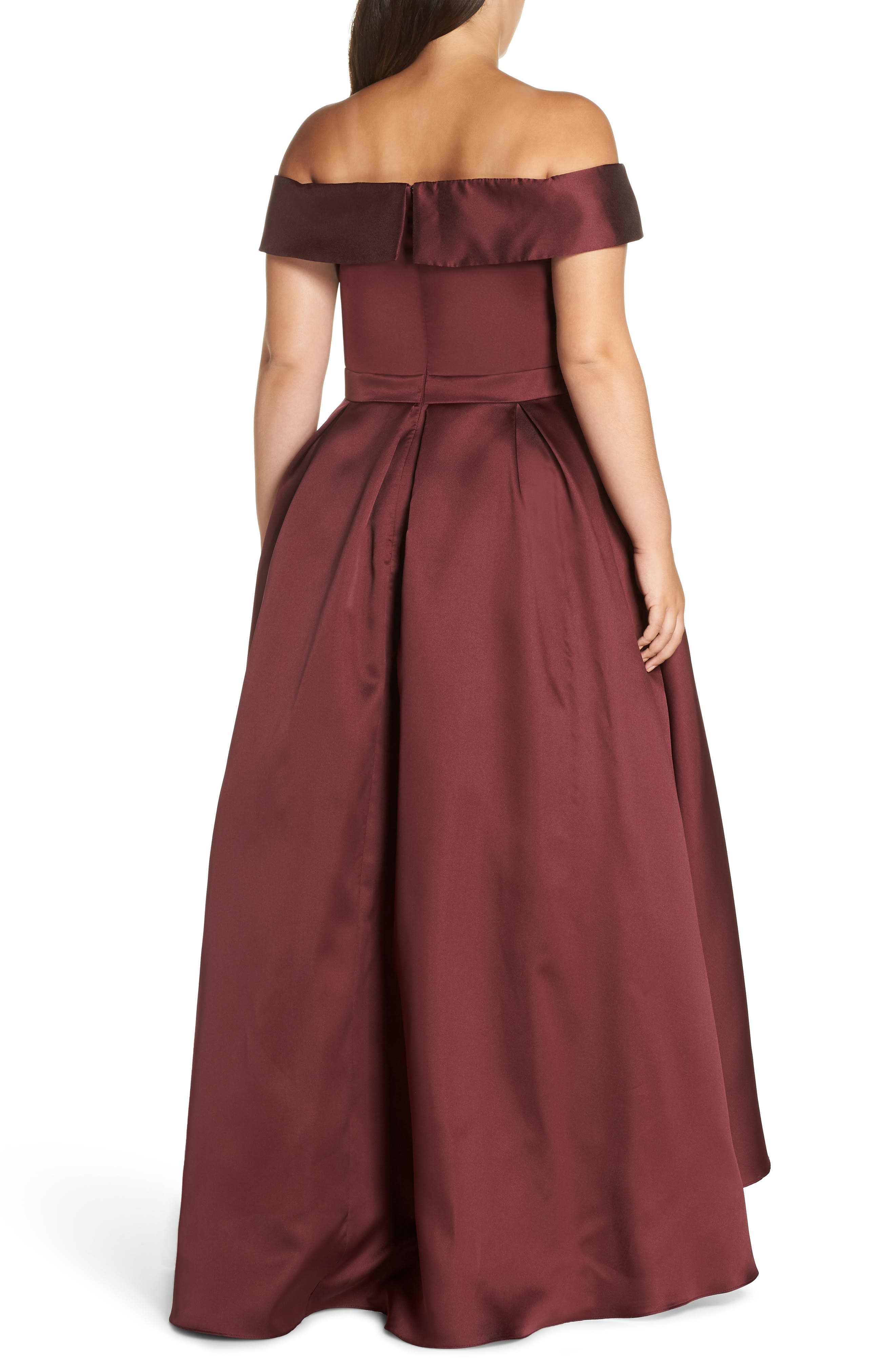 Off the Shoulder Mikado High/Low Gown,                             Alternate thumbnail 2, color,                             BURGUNDY