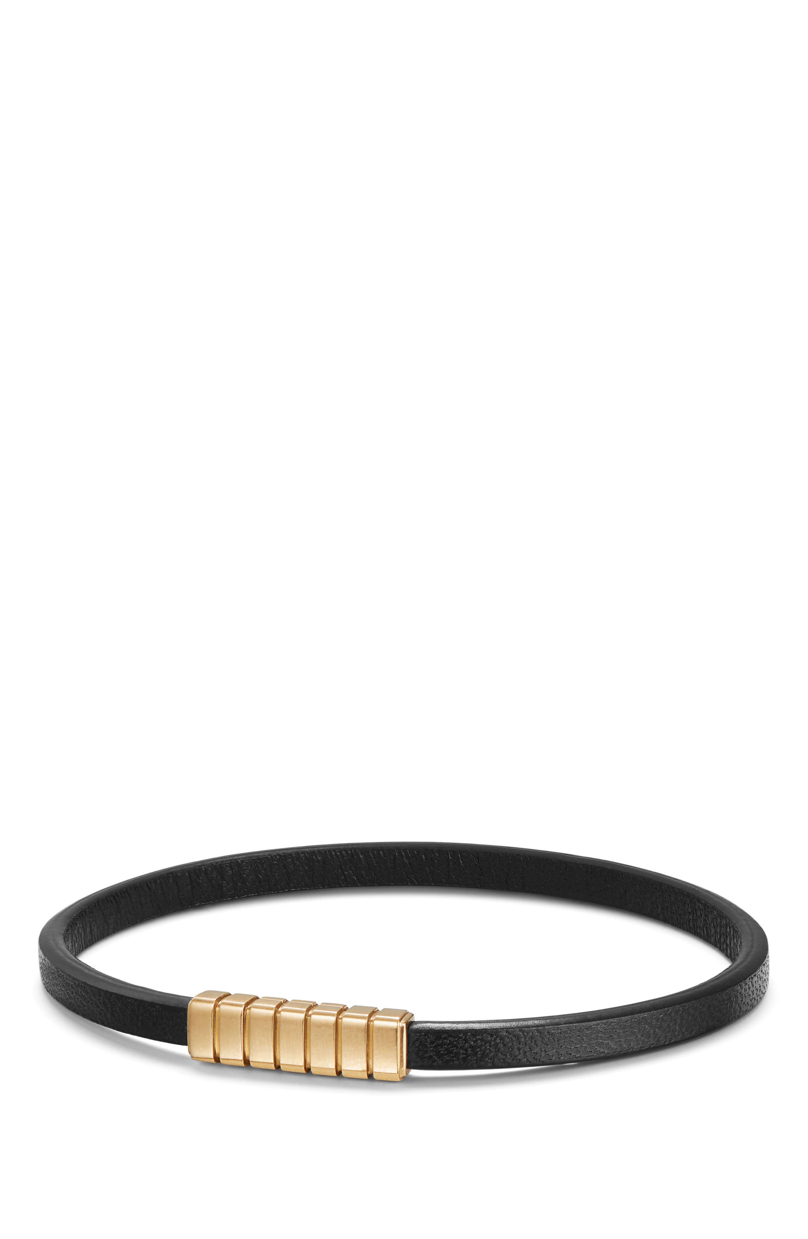 Southwest Narrow Leather Bracelet with 18K Gold,                         Main,                         color, BLACK