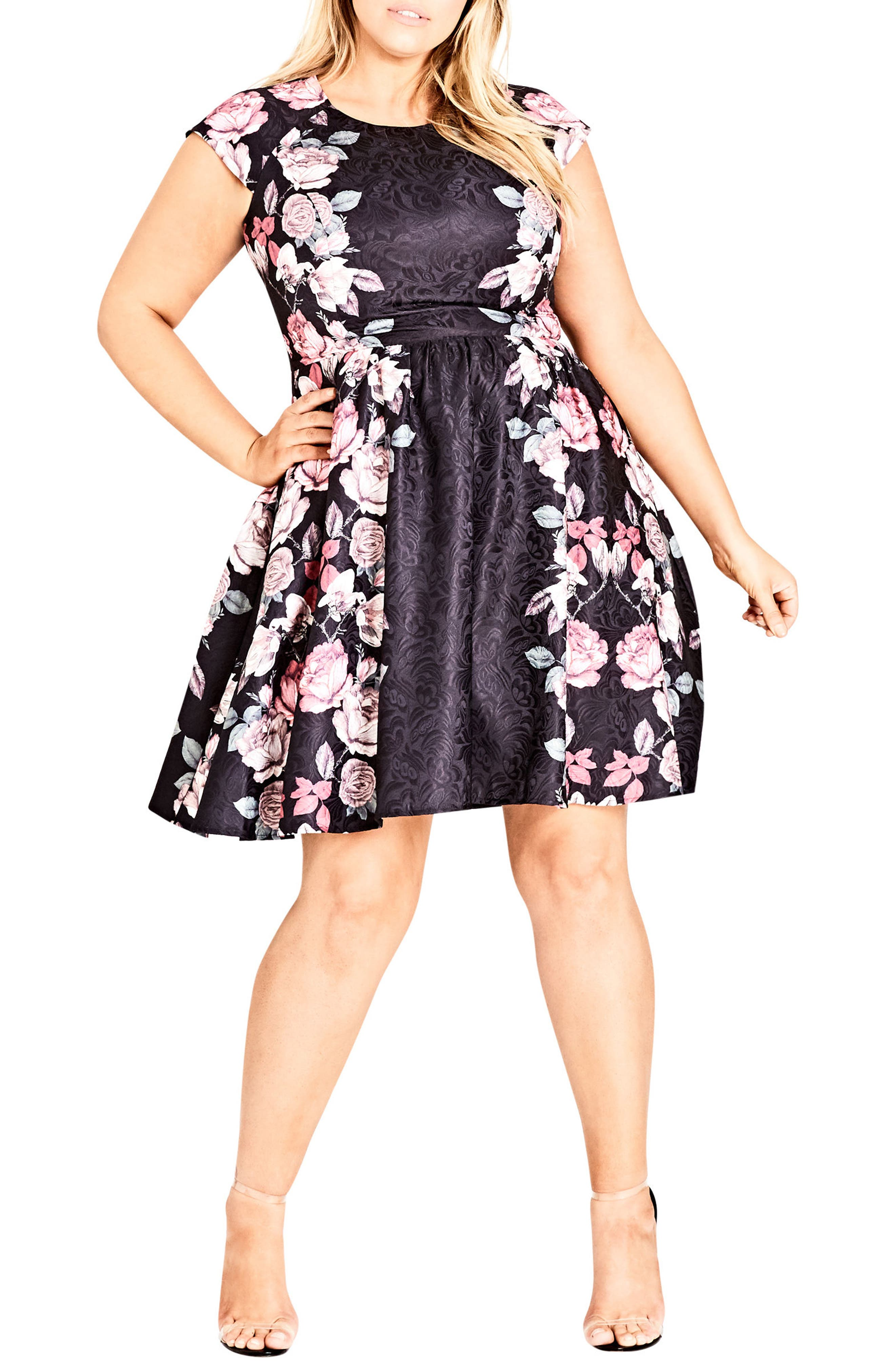 Rose Bloom Fit & Flare Dress,                             Main thumbnail 1, color,                             ROSE BLOSSOM