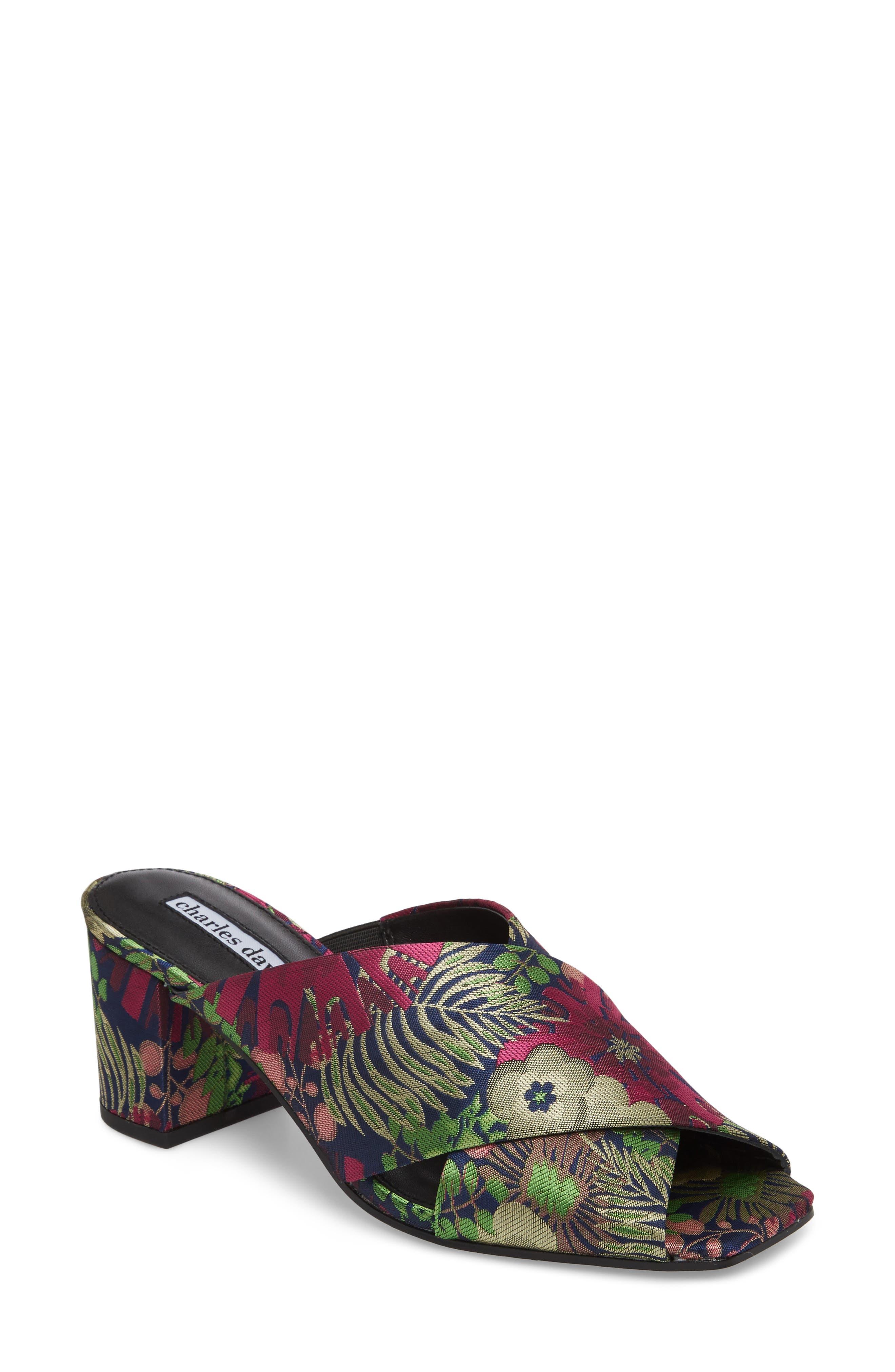 Crissaly Slide Sandal,                             Main thumbnail 1, color,                             GREEN MULTI FLORAL FABRIC