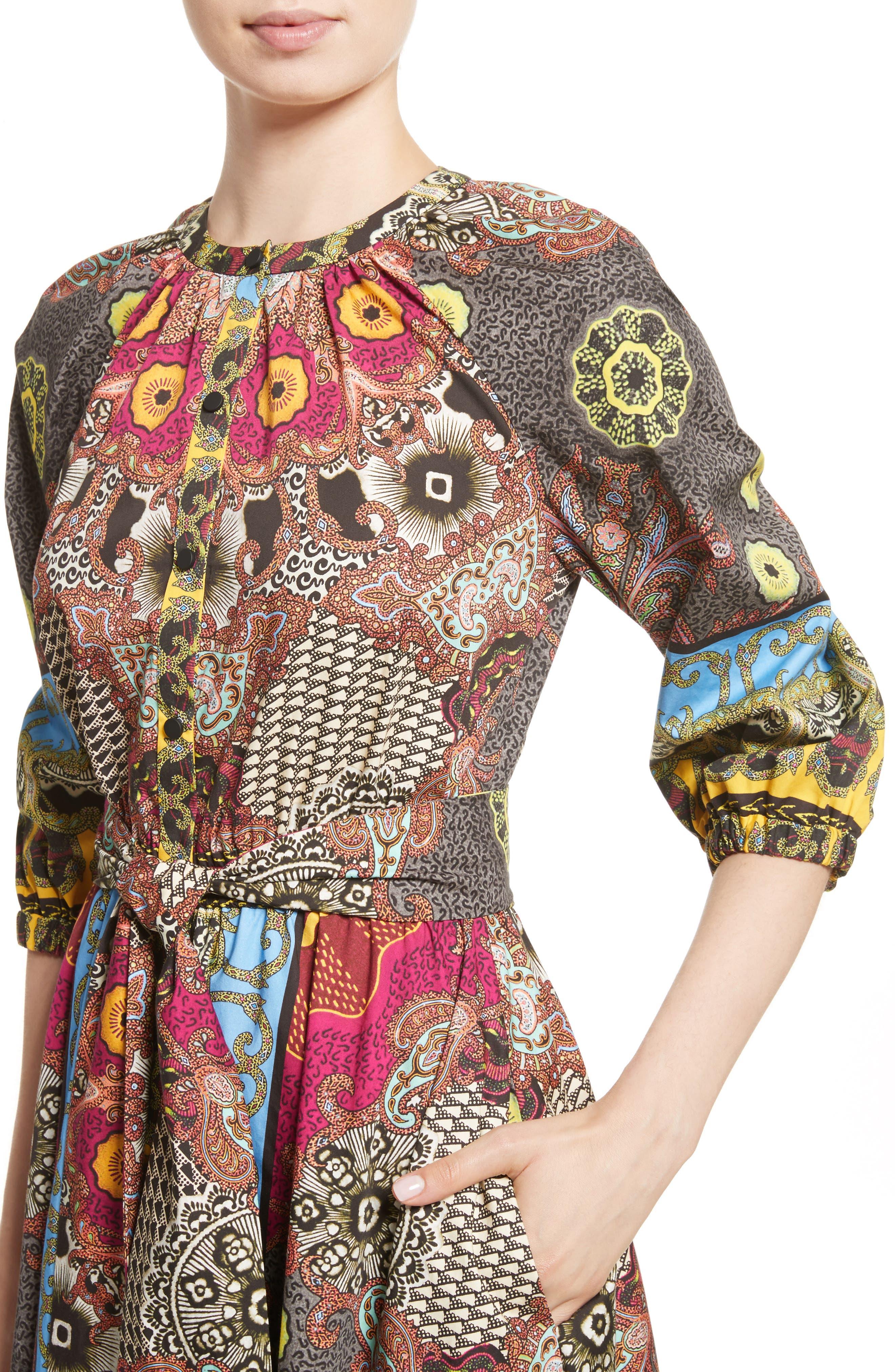 Jungle Paisley Print Cotton Dress,                             Alternate thumbnail 4, color,                             002