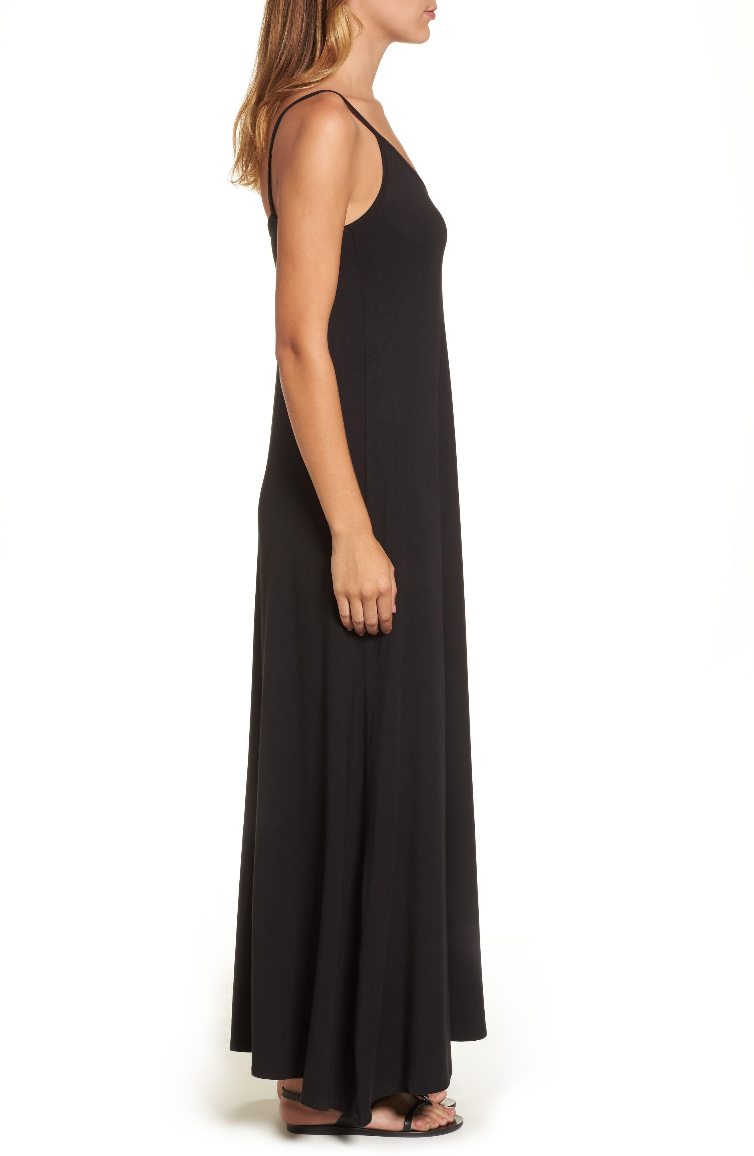 Maxi Dress,                             Alternate thumbnail 3, color,                             BLACK