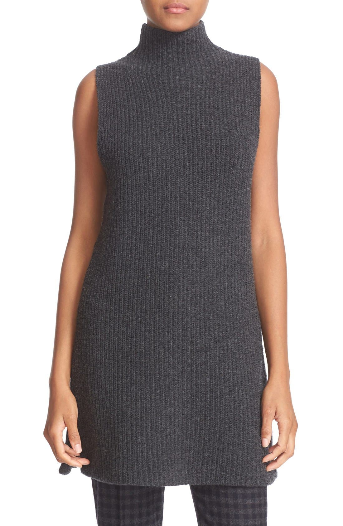 THEORY 'Embree Charmant' Sleeveless Wool & Cashmere Mock Neck Tunic Sweater, Main, color, 200