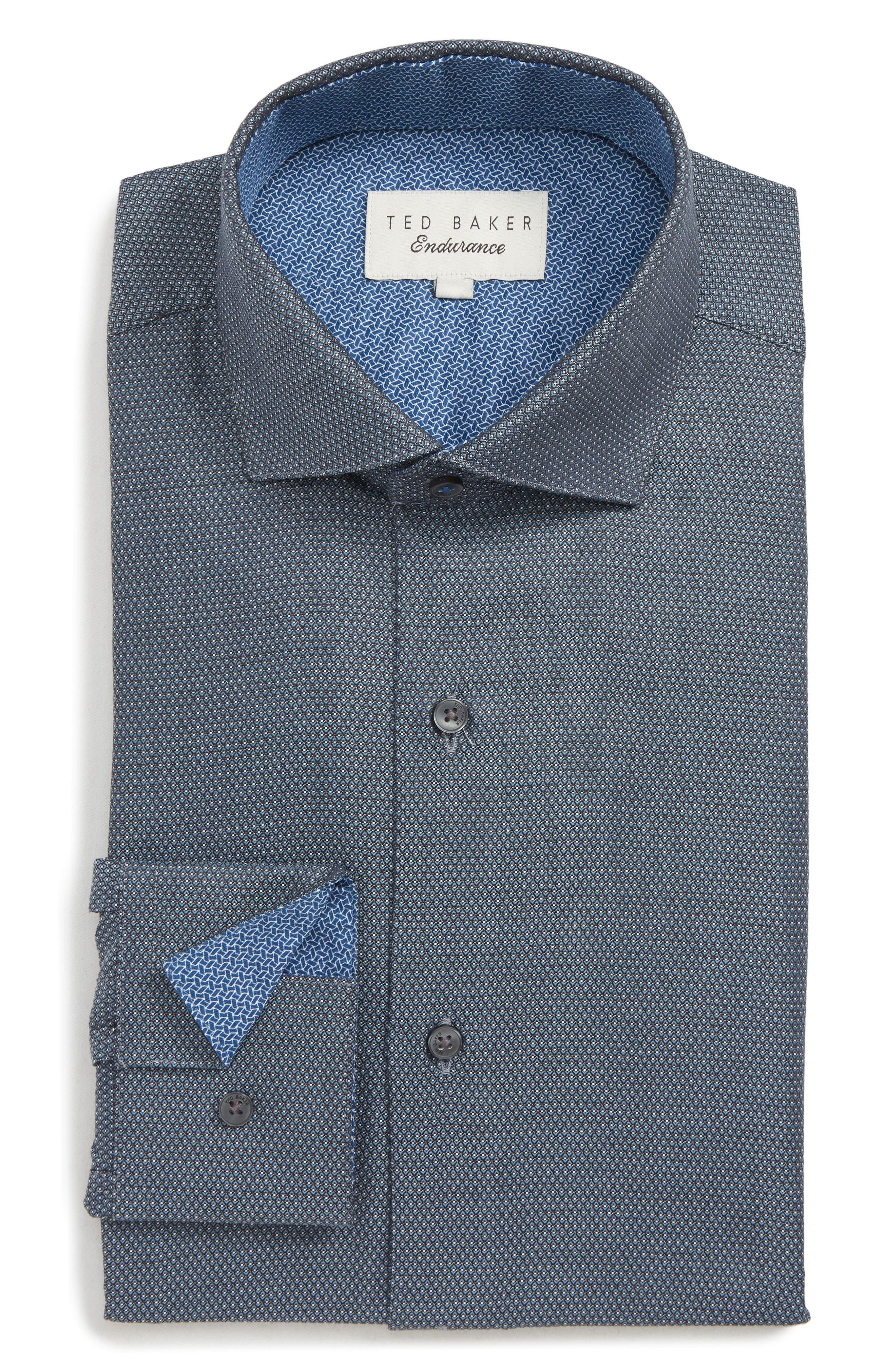 Coorm Trim Fit Geometric Dress Shirt,                         Main,                         color, BLACK