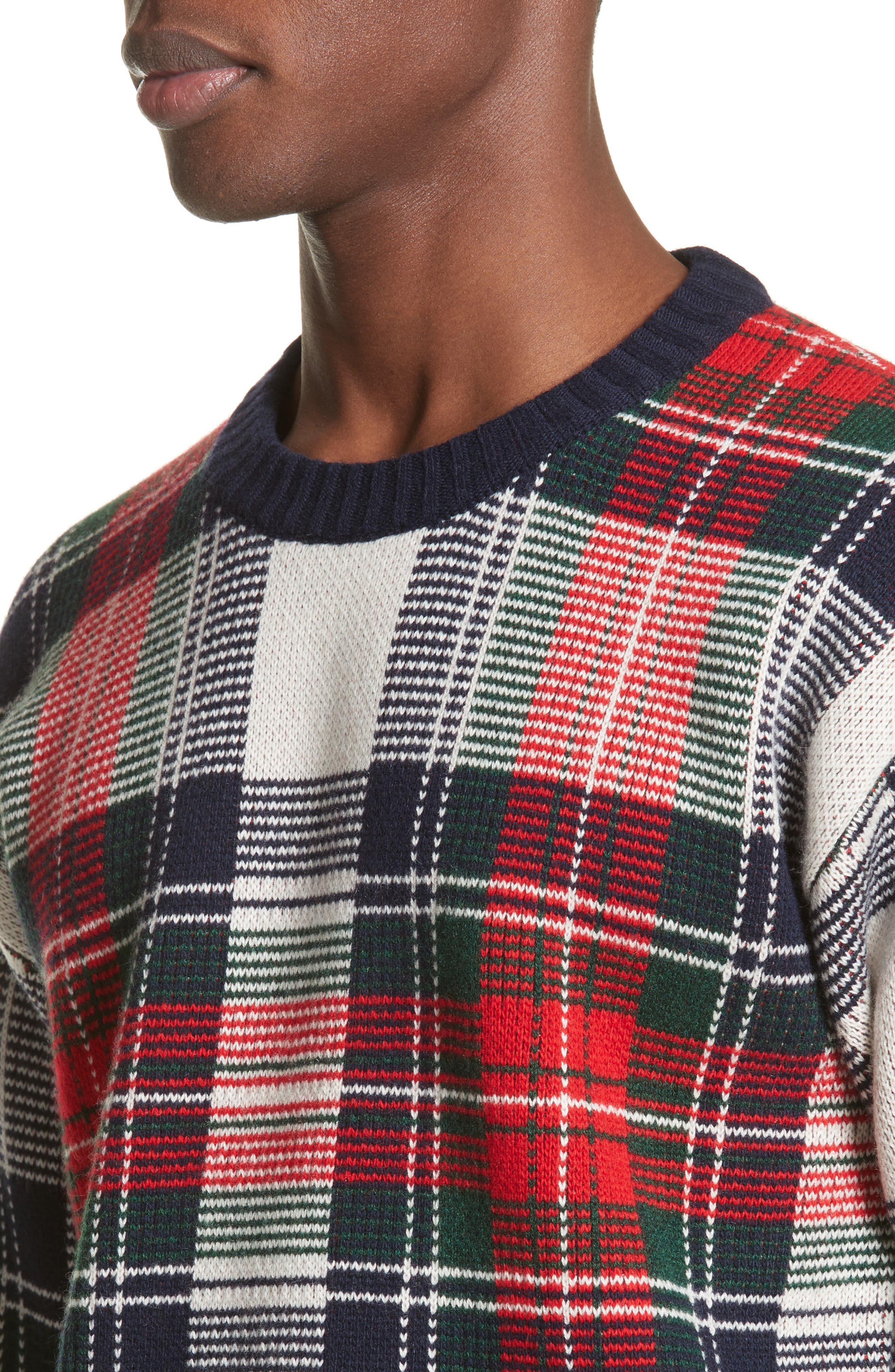 Plaid Cashmere & Wool Sweater,                             Alternate thumbnail 4, color,                             103