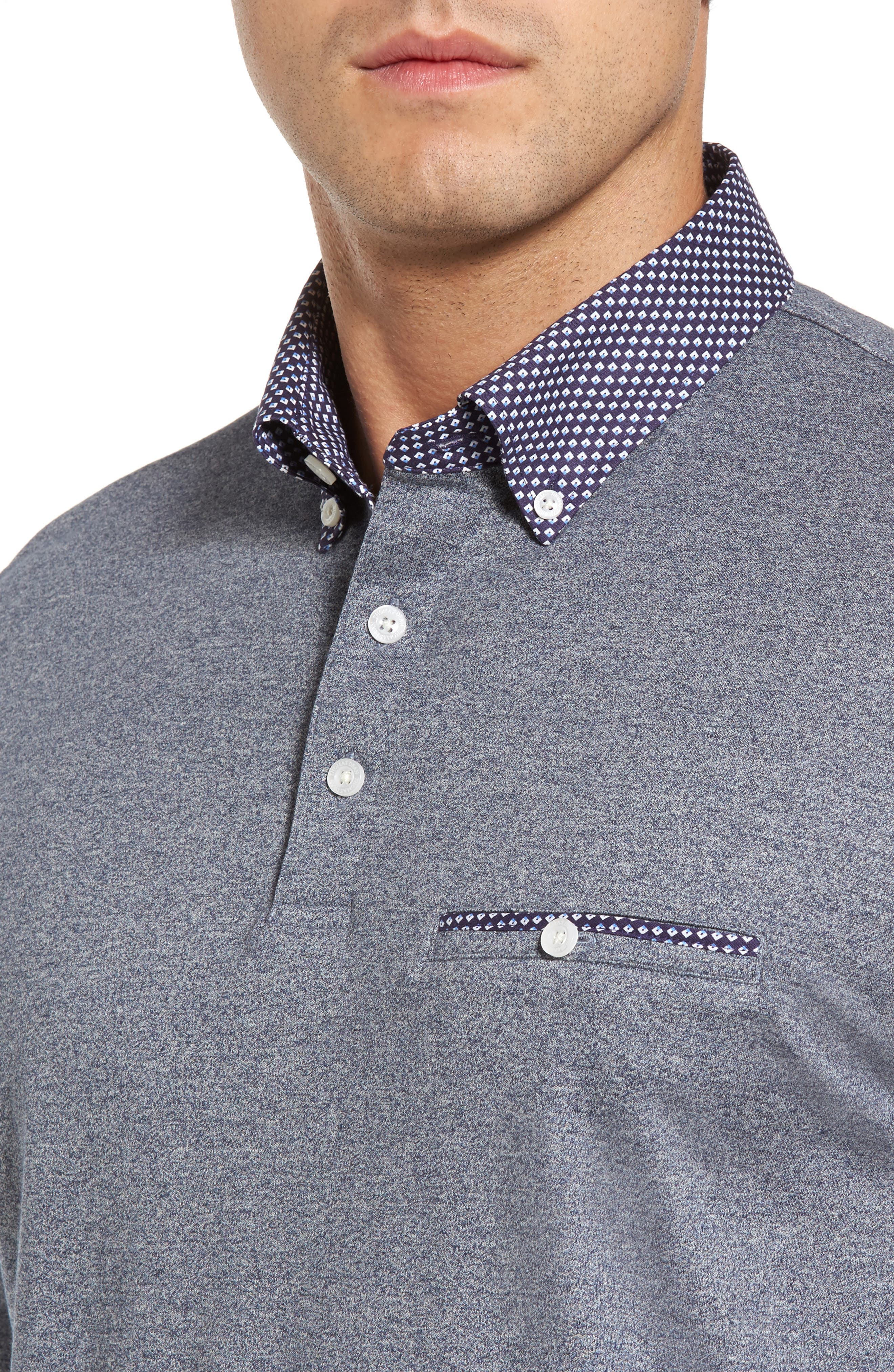 Heathered Button Down Polo,                             Alternate thumbnail 4, color,                             400