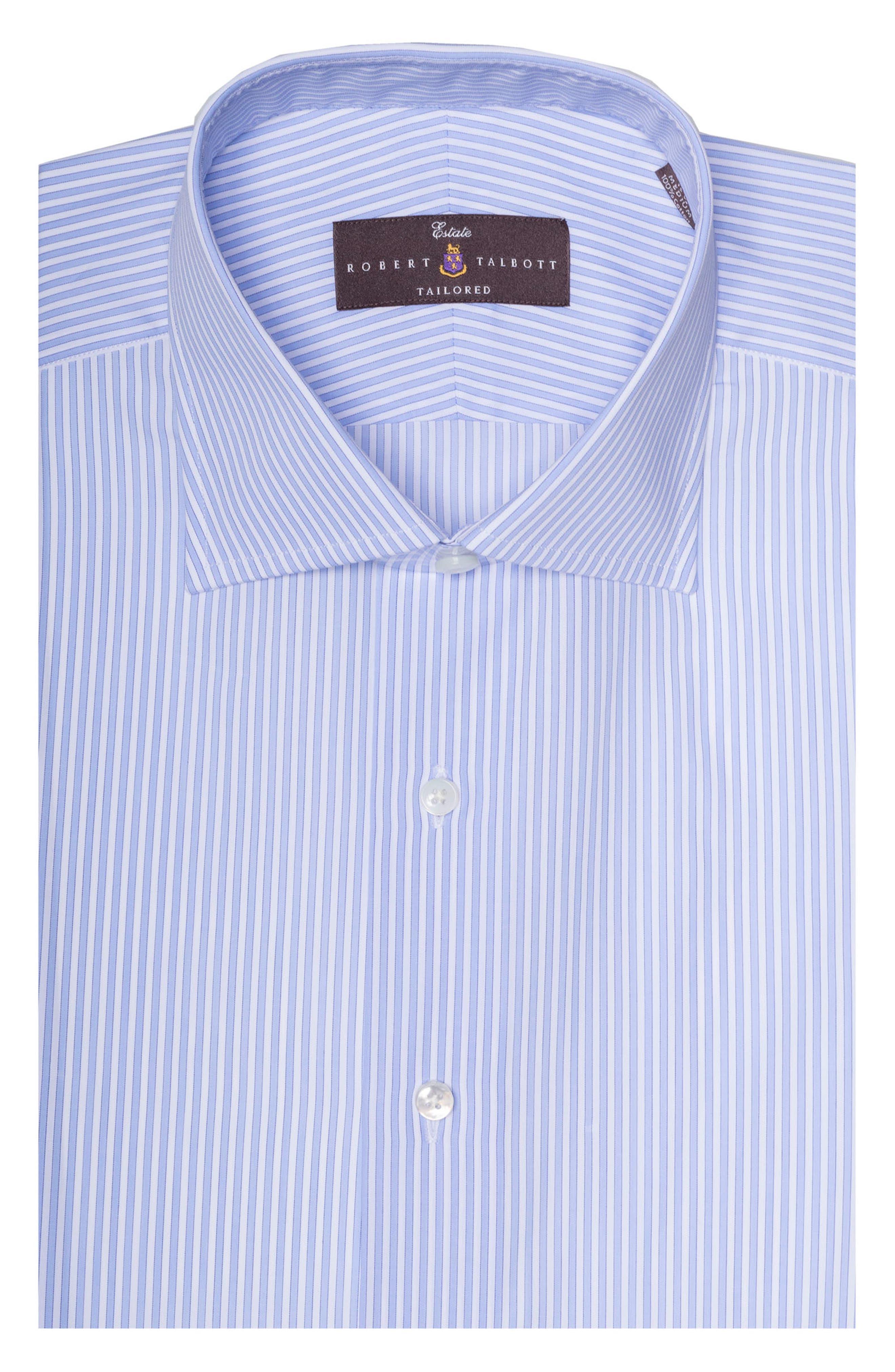 Tailored Fit Stripe Dress Shirt,                         Main,                         color, SKY