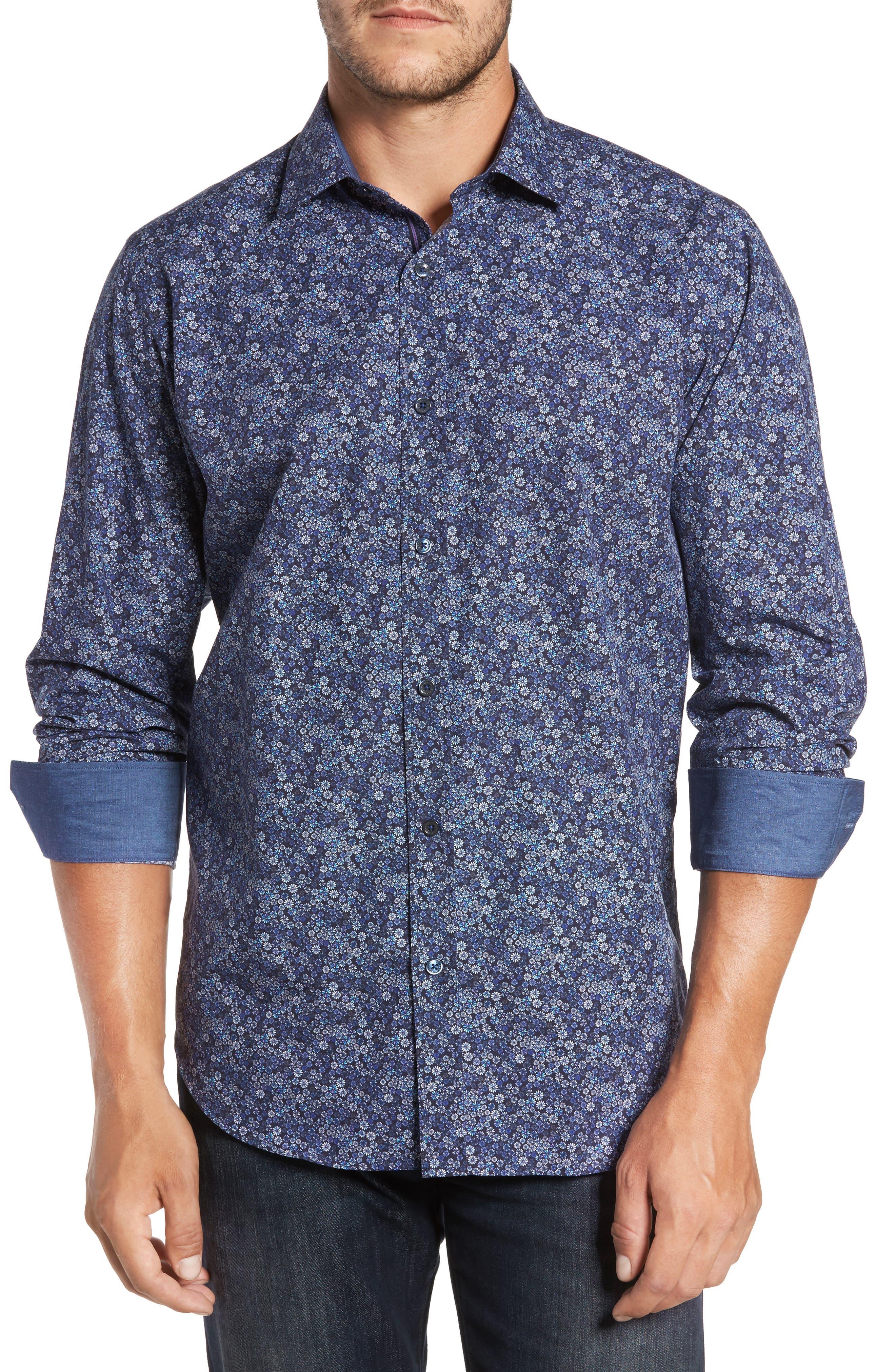 Classic Fit Floral Print Sport Shirt,                         Main,                         color, 410