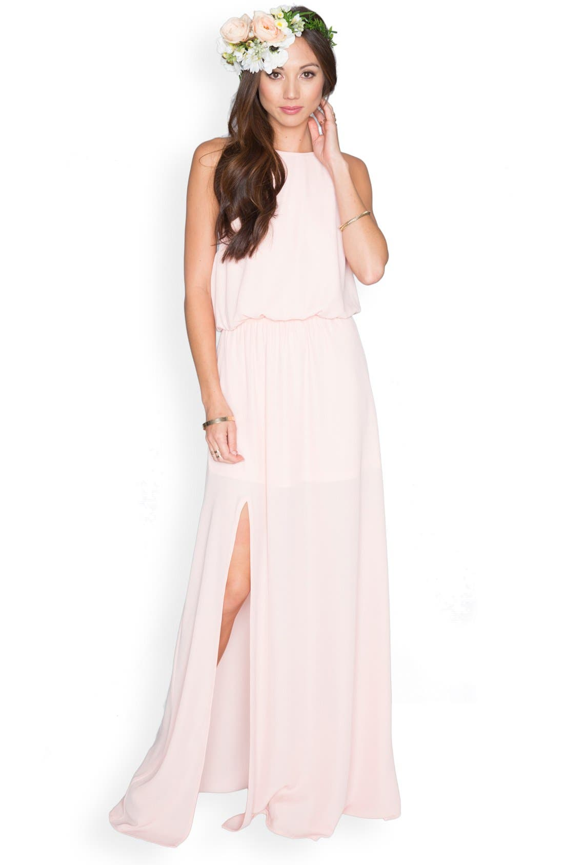 Heather Chiffon Halter Gown,                             Alternate thumbnail 43, color,