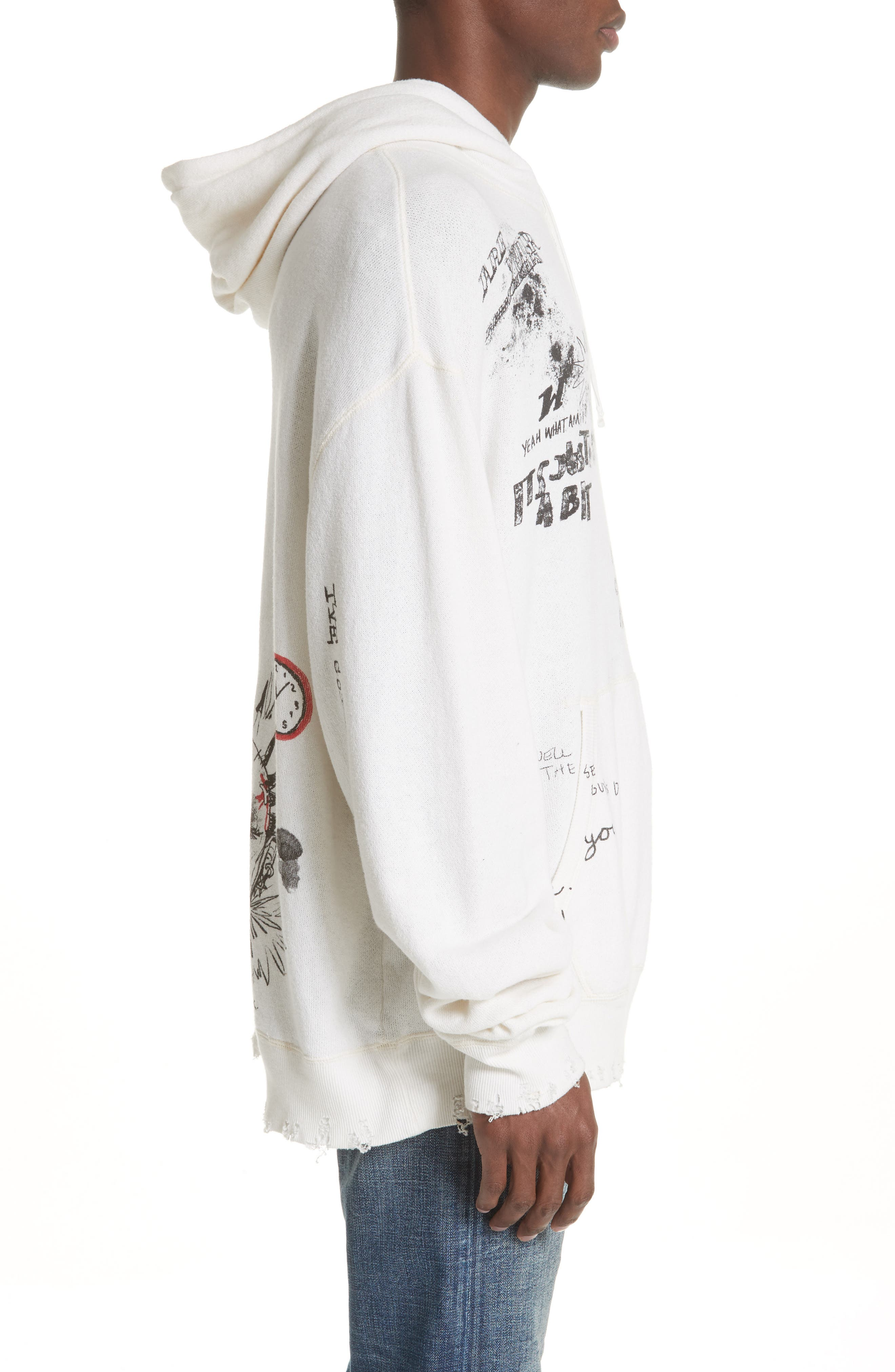 Doodle Hoodie,                             Alternate thumbnail 3, color,                             WHITE