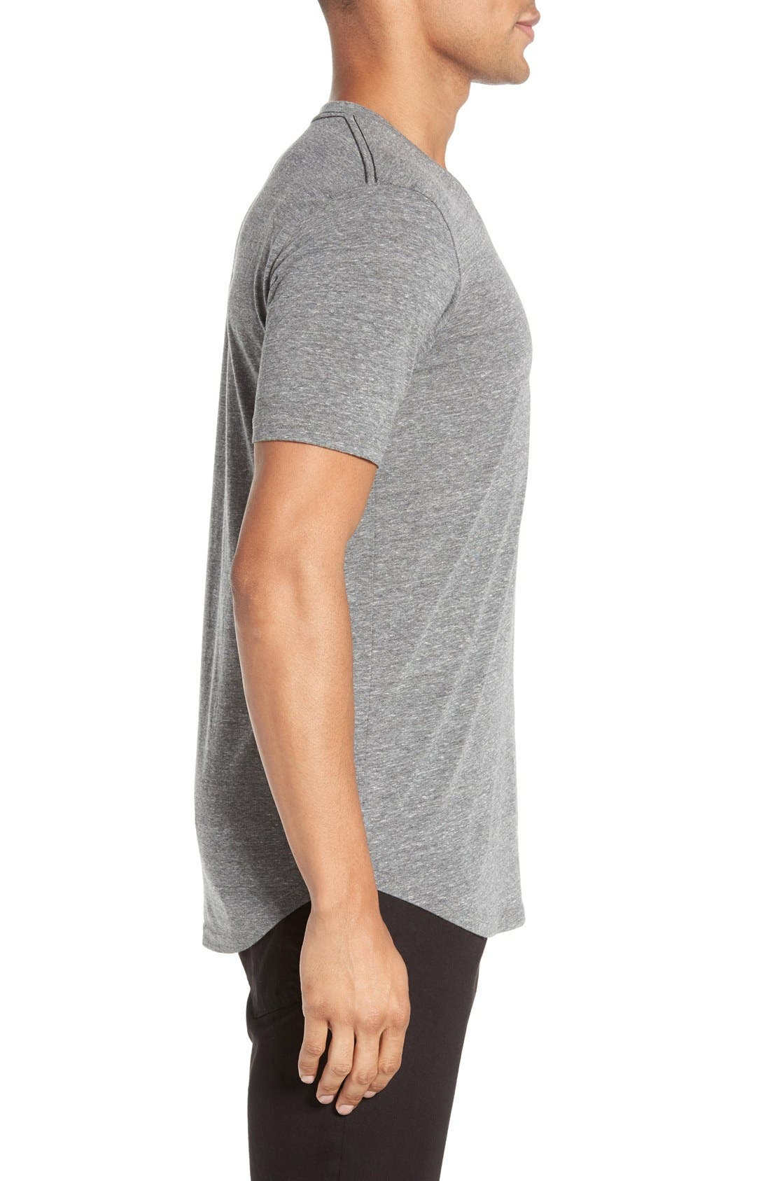 Scallop Triblend V-Neck T-Shirt,                             Alternate thumbnail 3, color,                             HEATHER GREY