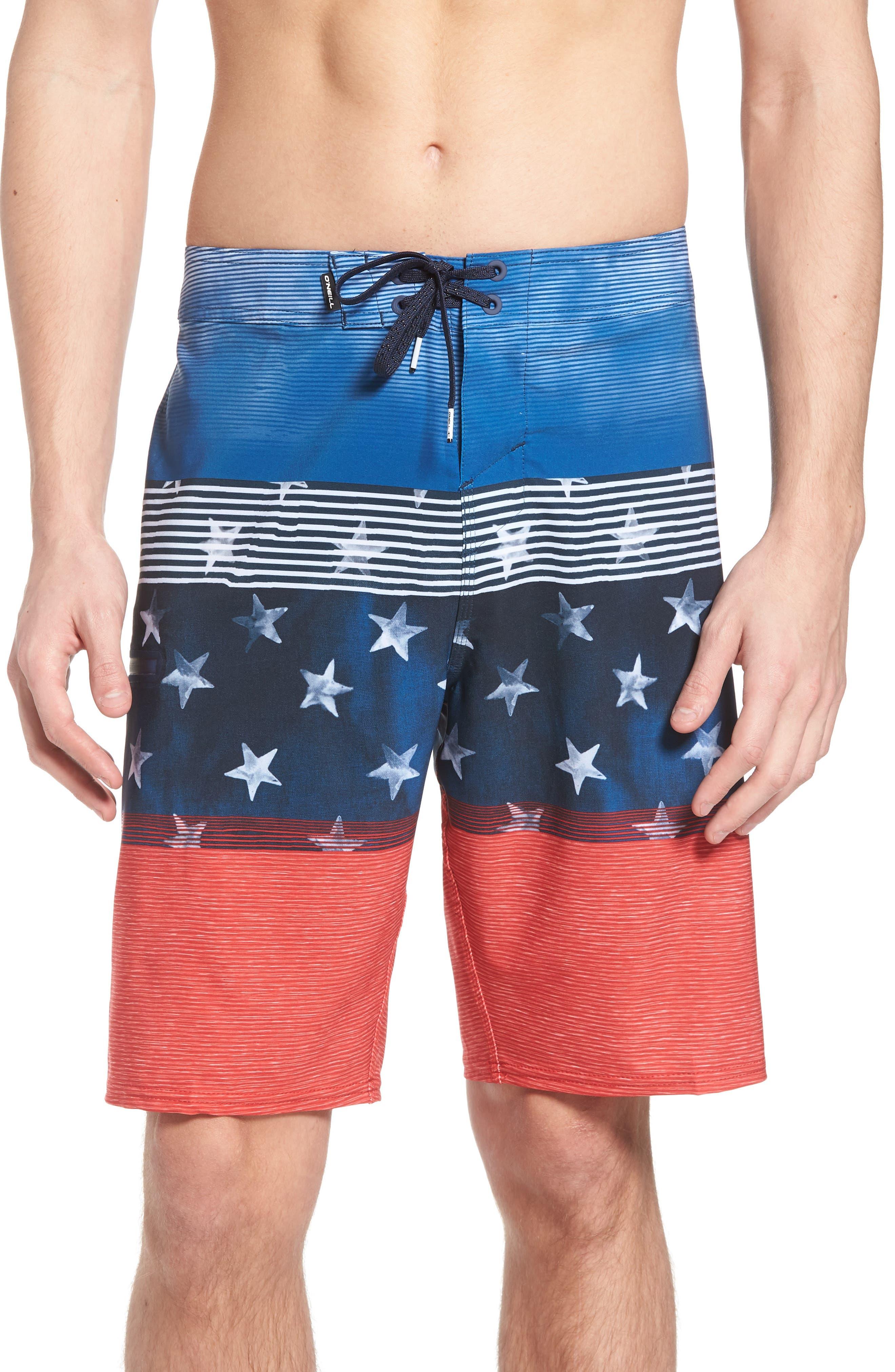 Hyperfreak Board Shorts,                             Main thumbnail 1, color,                             RED WHITE BLUE